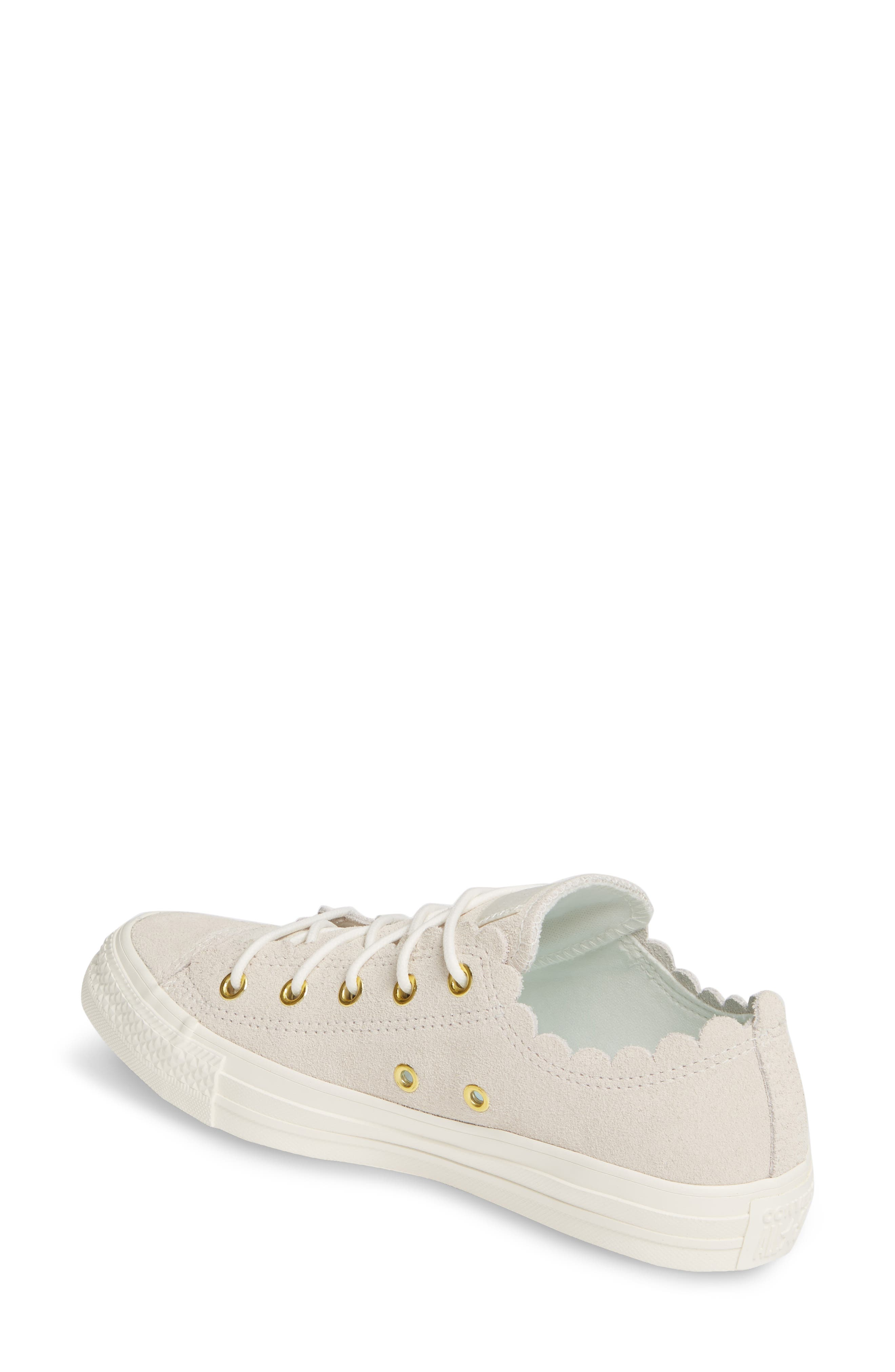 CONVERSE, Chuck Taylor<sup>®</sup> All Star<sup>®</sup> Scallop Low Top Leather Sneaker, Alternate thumbnail 2, color, EGRET/ GOLD/ EGRET