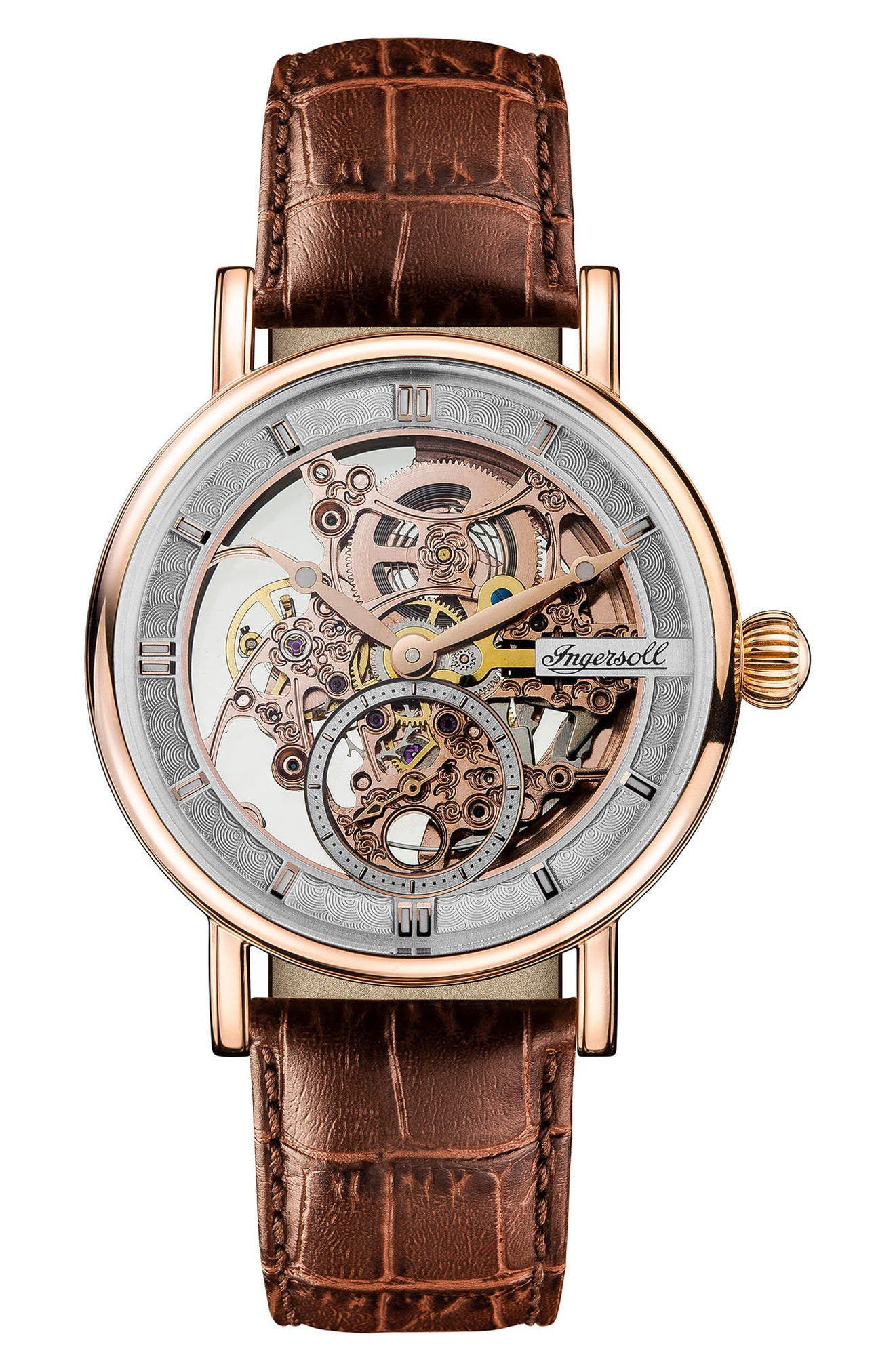 INGERSOLL WATCHES Ingersoll Herald Automatic Skeleton Leather Strap Watch, 40mm, Main, color, BROWN/ SKELETON/ ROSE GOLD