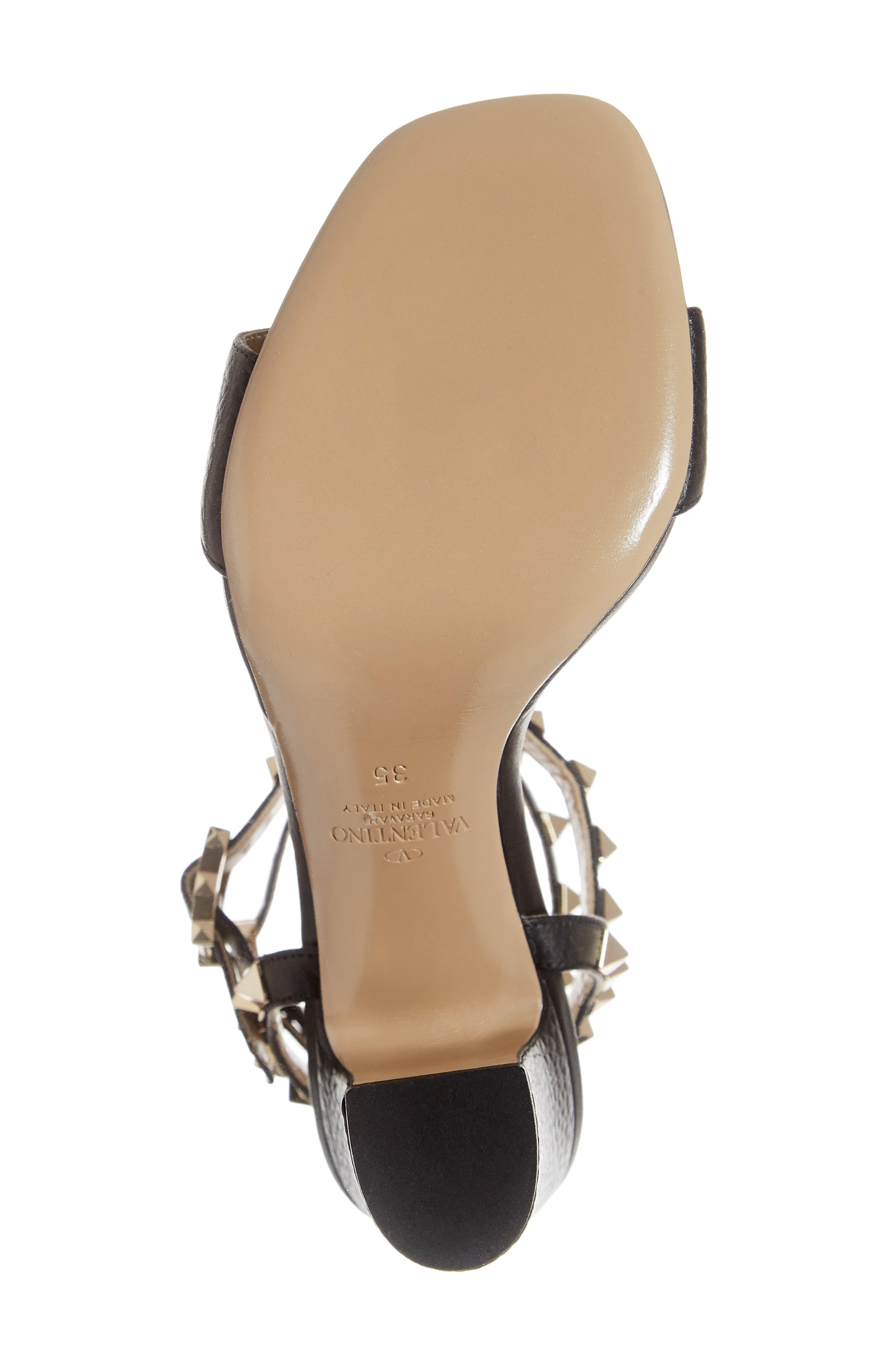 VALENTINO GARAVANI, Rockstud Ankle Strap Block Sandal, Alternate thumbnail 6, color, BLACK/ BLACK