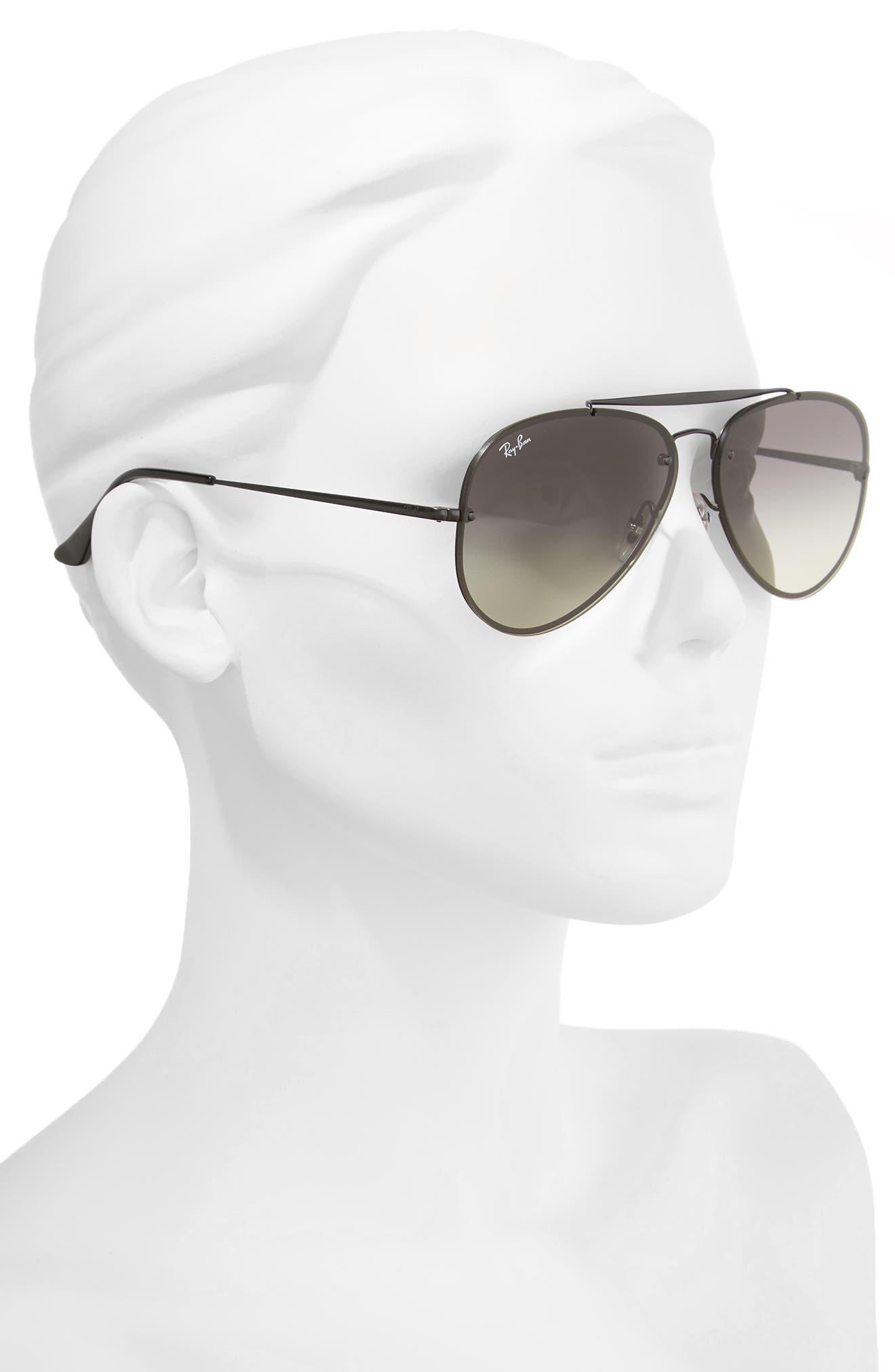 RAY-BAN, 61mm Gradient Lens Aviator Sunglasses, Alternate thumbnail 2, color, SHINY BLACK