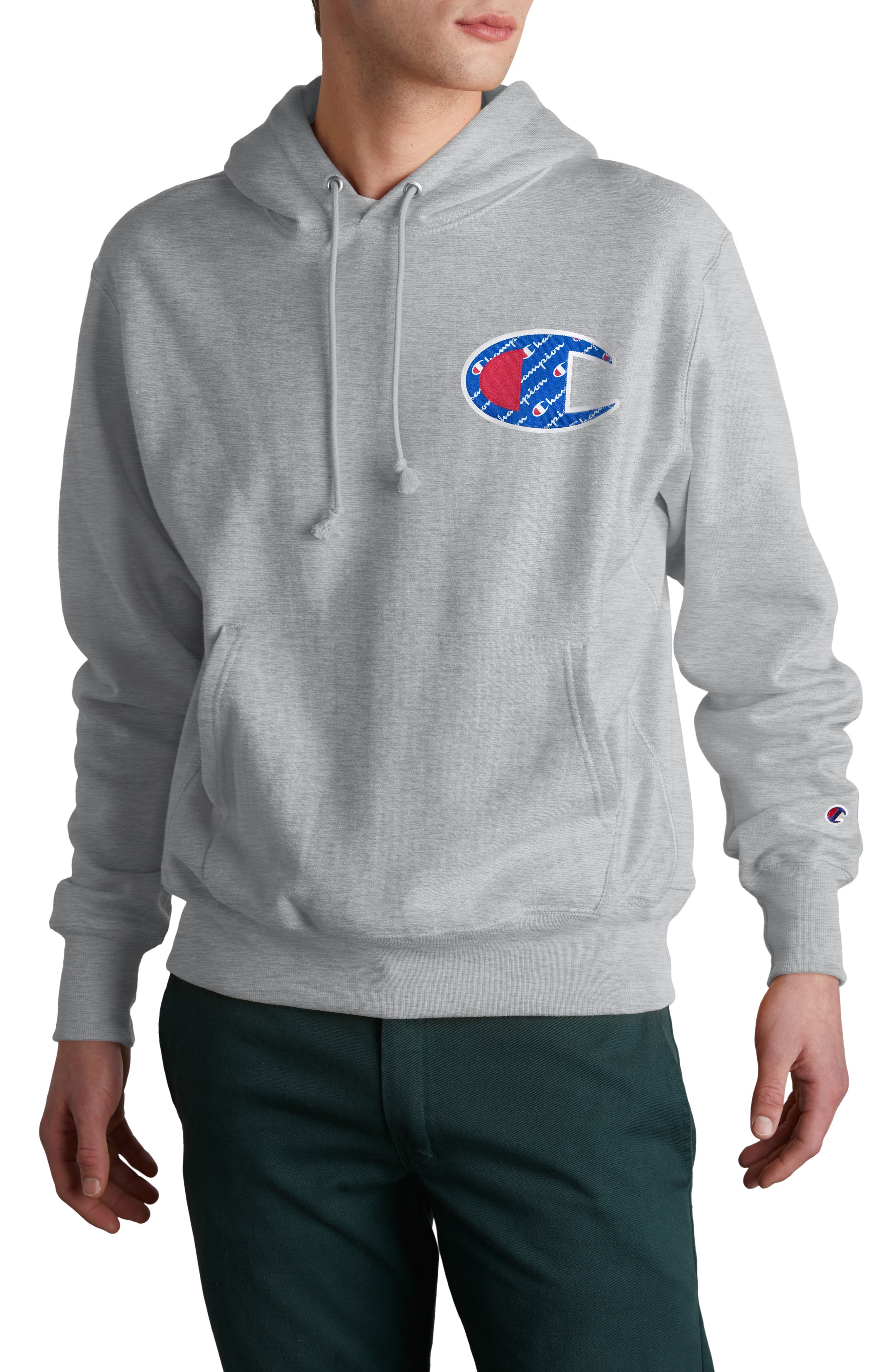 CHAMPION, Sublimated Graphic Hoodie, Main thumbnail 1, color, OXFORD GRAY