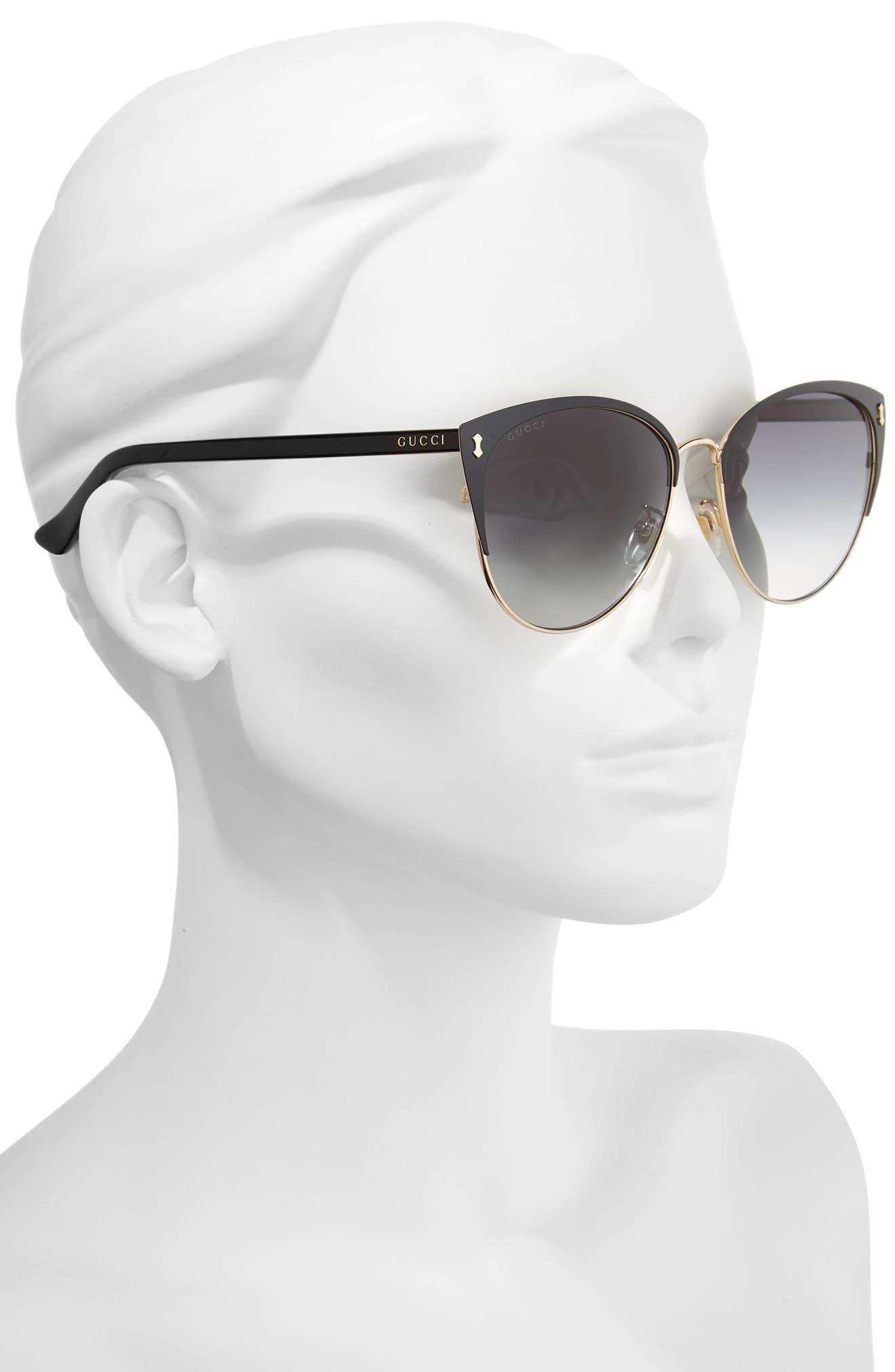 GUCCI, 58mm Cat Eye Sunglasses, Alternate thumbnail 2, color, BLACK
