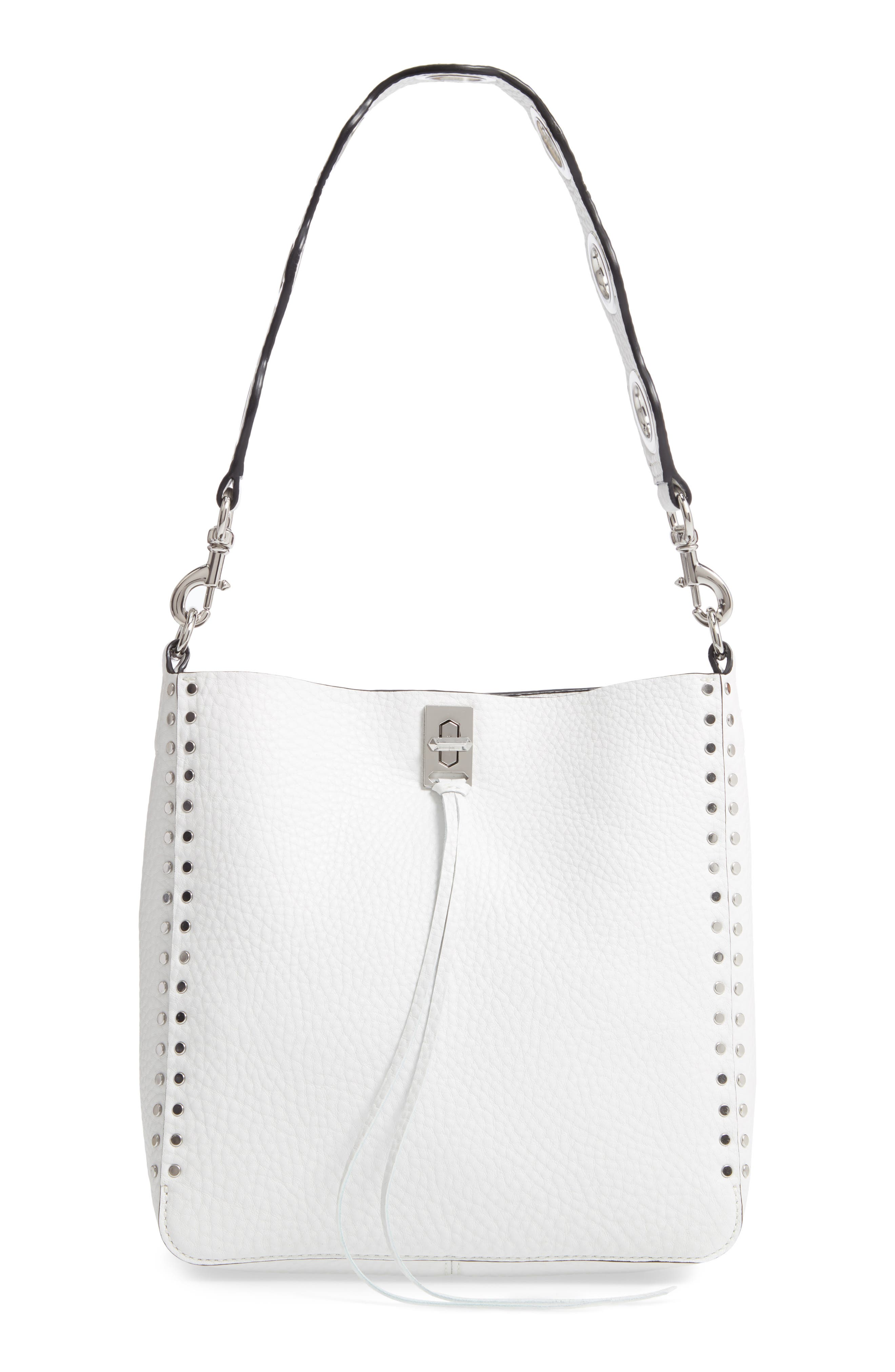 REBECCA MINKOFF, Small Studded Leather Feed Bag, Main thumbnail 1, color, OPTIC WHITE