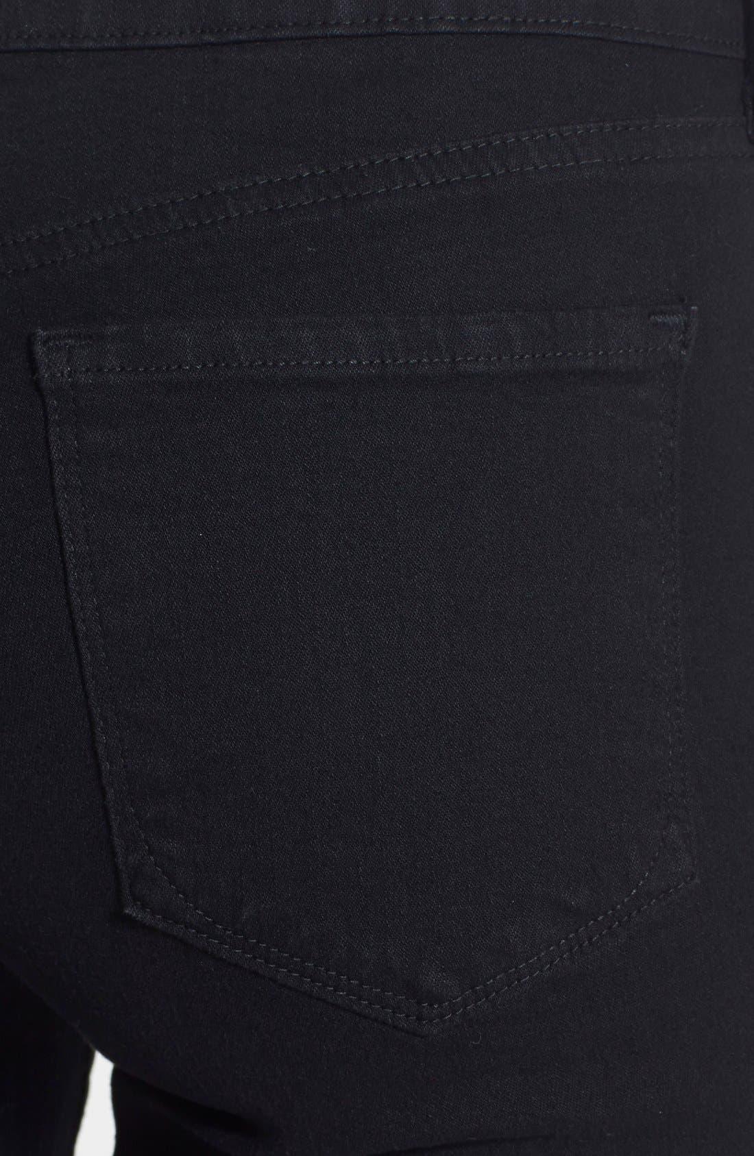 NYDJ, 'Billie' Stretch Mini Bootcut Jeans, Alternate thumbnail 3, color, BLACK