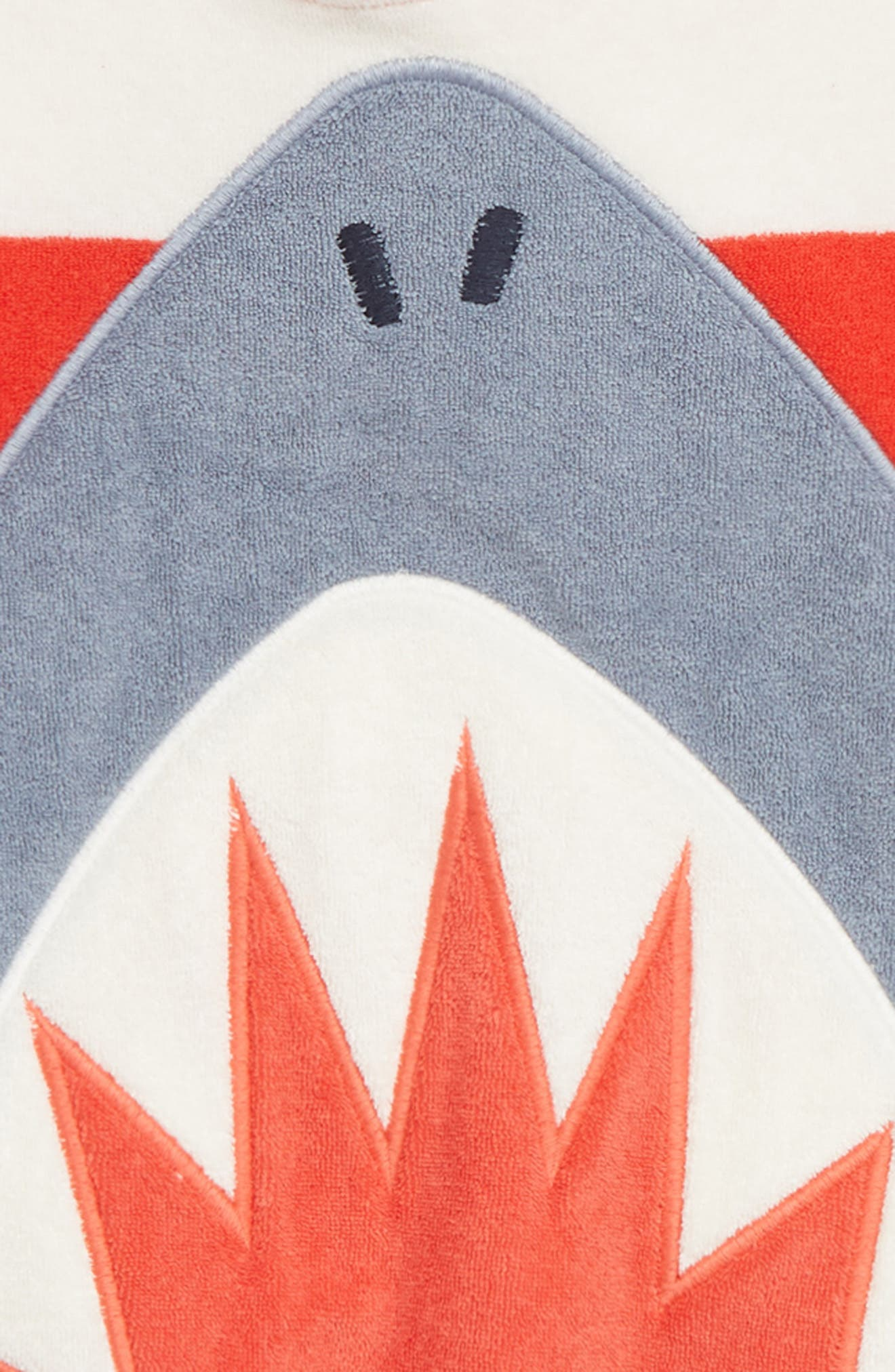 MINI BODEN, Towelling Hooded Cover-Up, Alternate thumbnail 2, color, BEAM RED/ IVORY SHARK