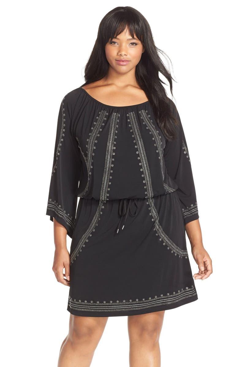 MICHAEL Michael Kors Embellished Blouson Jersey Peasant Dress (Plus ...