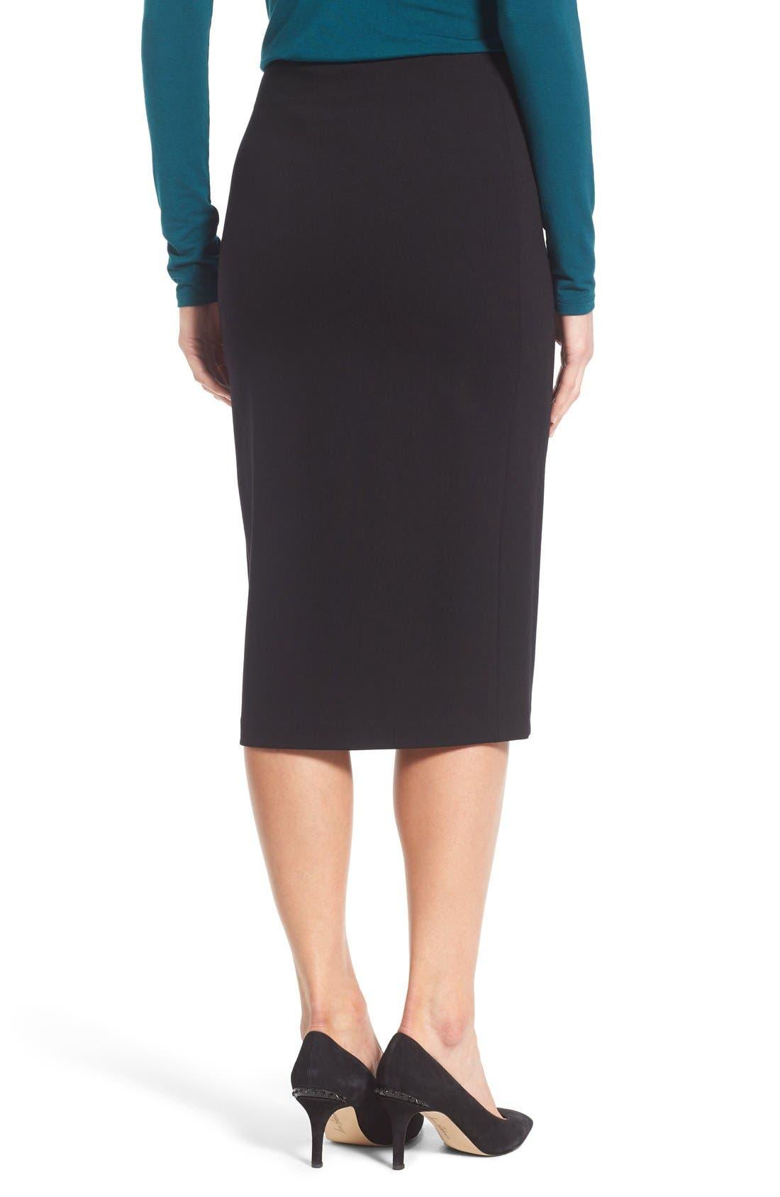 VINCE CAMUTO, Ponte Midi Skirt, Alternate thumbnail 2, color, RICH BLACK