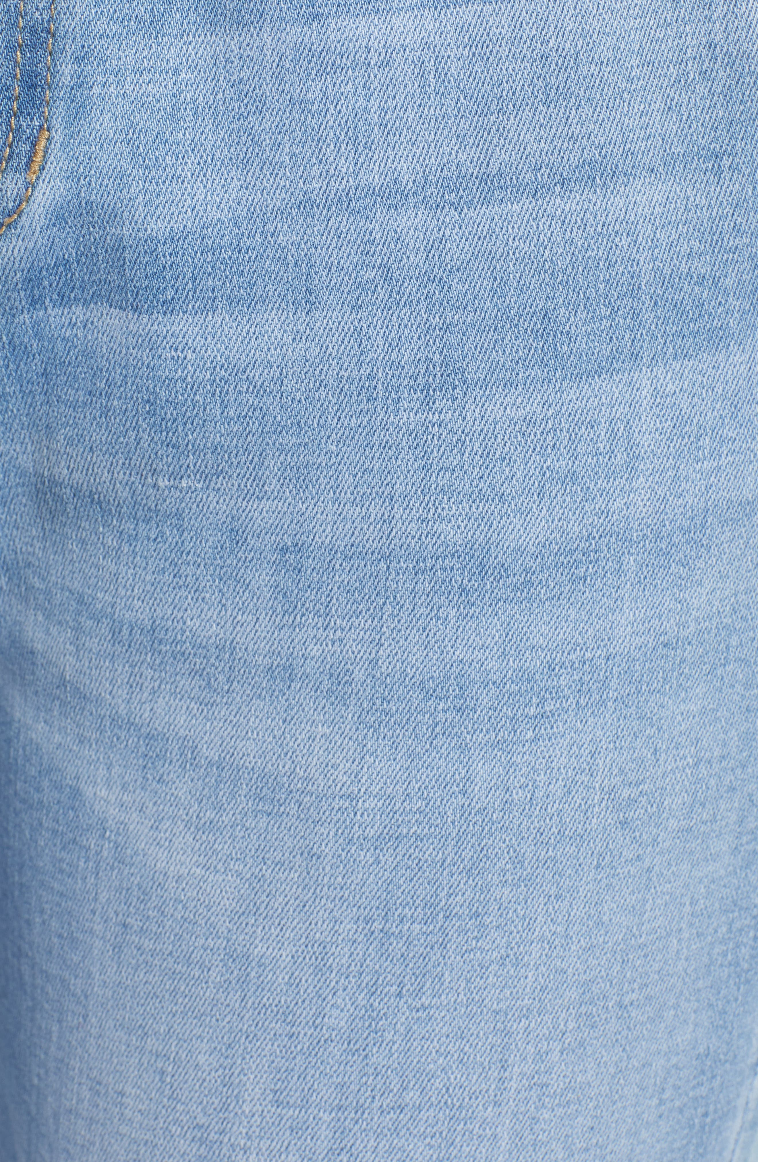 PROSPERITY DENIM, Paperbag Waist Skinny Jeans, Alternate thumbnail 6, color, MEDIUM WASH