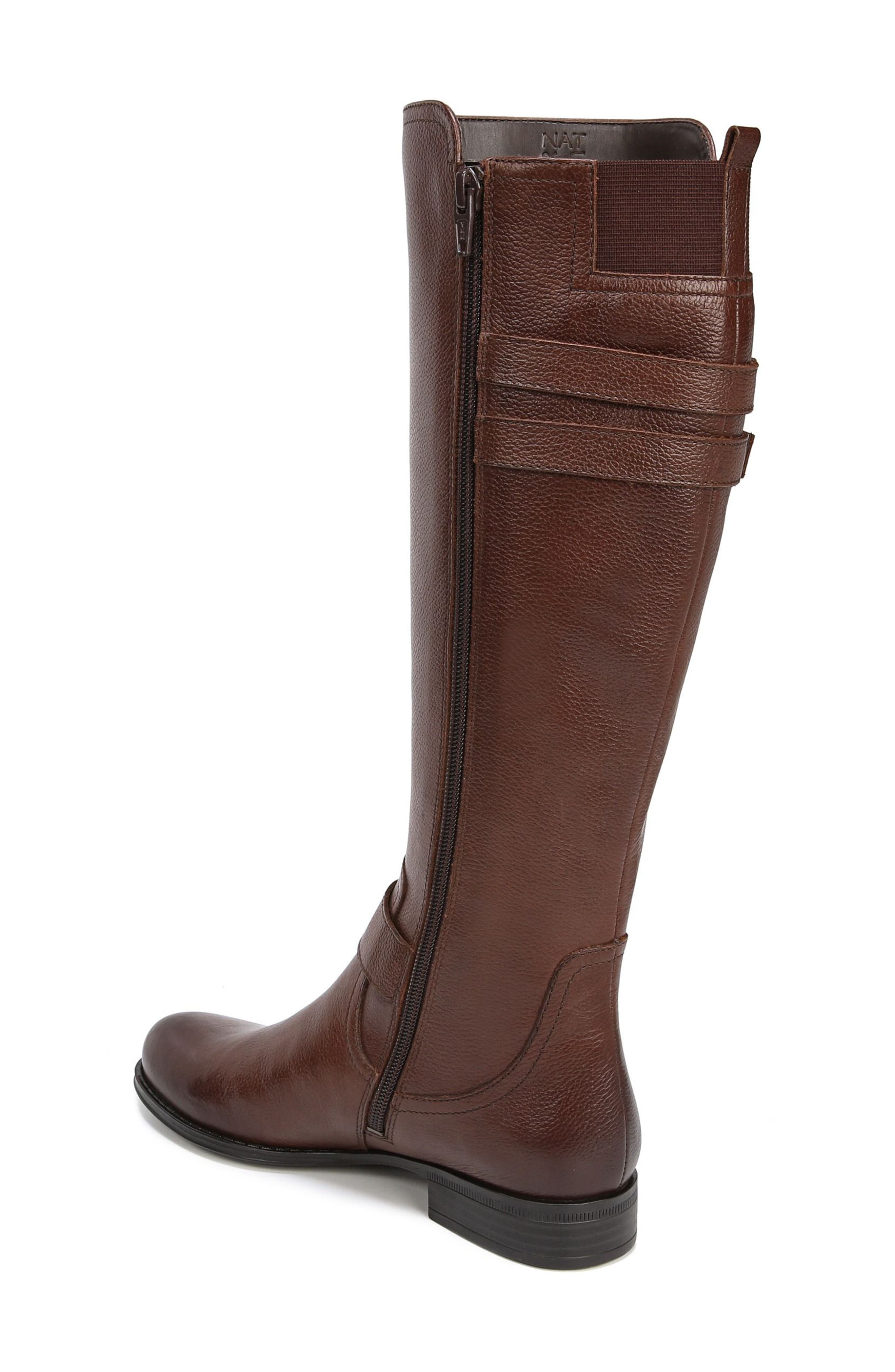 NATURALIZER, Jessie Knee High Riding Boot, Alternate thumbnail 2, color, CHOCOLATE LEATHER