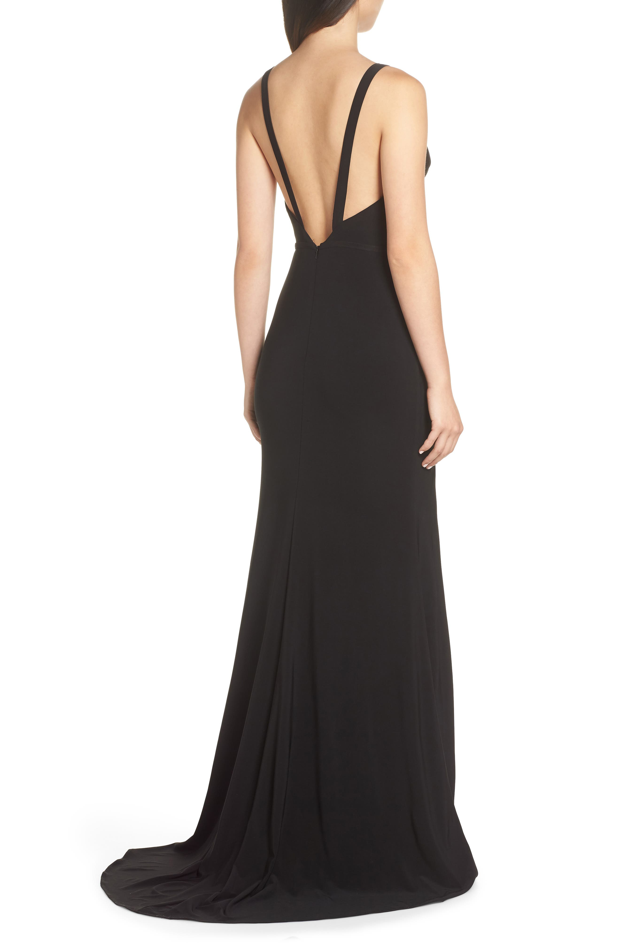 IEENA FOR MAC DUGGAL, Mac Duggal Plunge Neck Slit Jersey Gown, Alternate thumbnail 2, color, BLACK