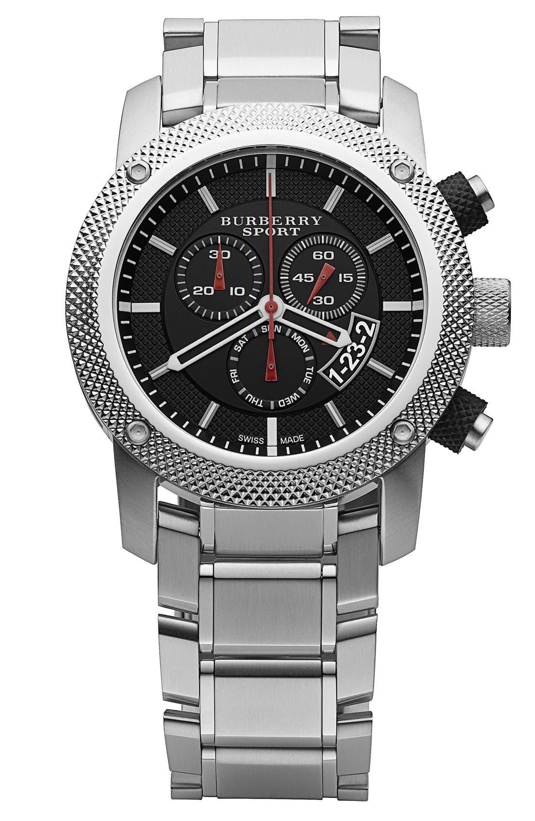 BURBERRY, Chronograph Bracelet Watch, Main thumbnail 1, color, 001