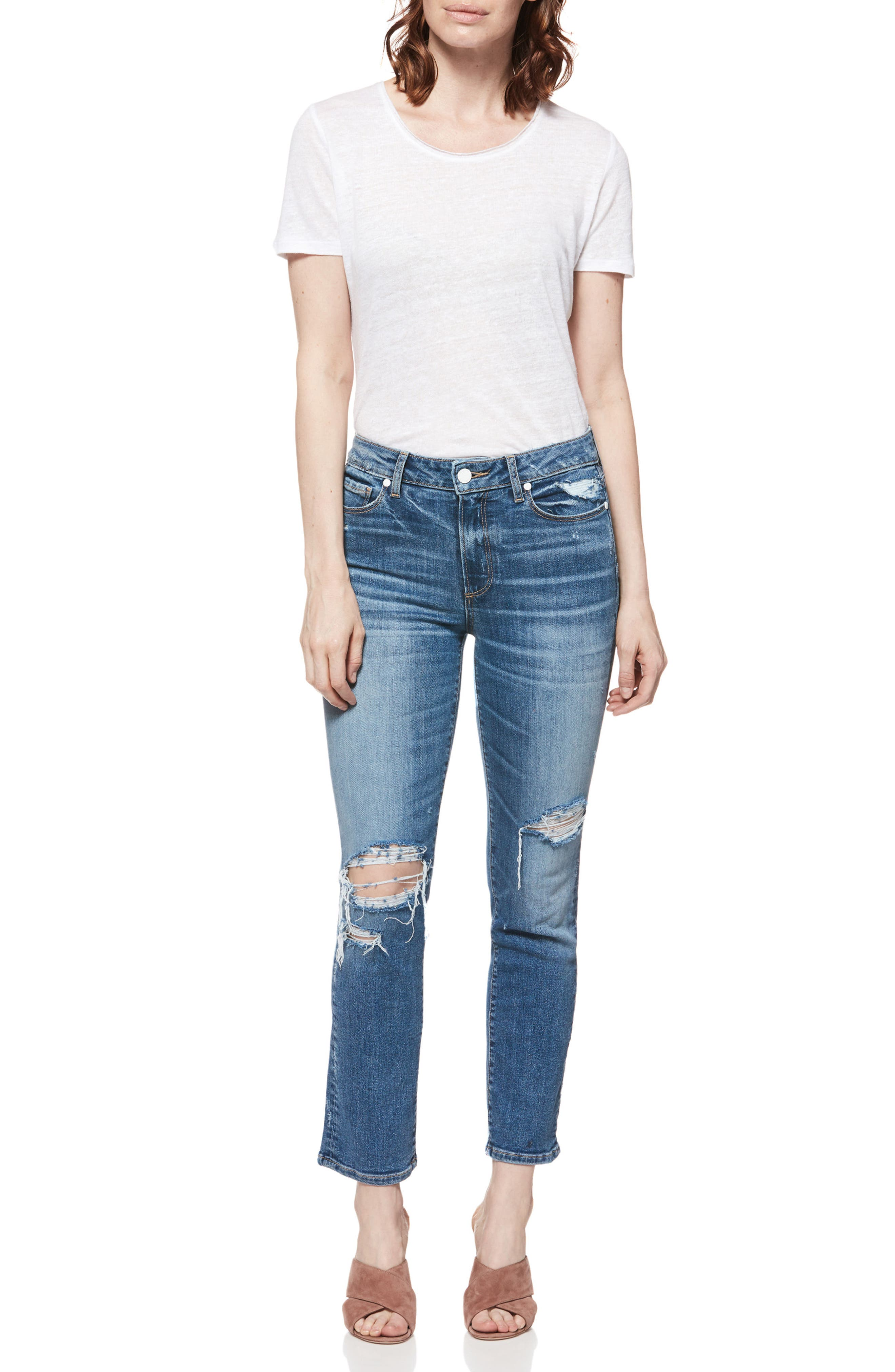 PAIGE, Verdugo Transcend Vintage Ripped Ankle Skinny Jeans, Alternate thumbnail 5, color, EMBARCADERO DESTRUCTED