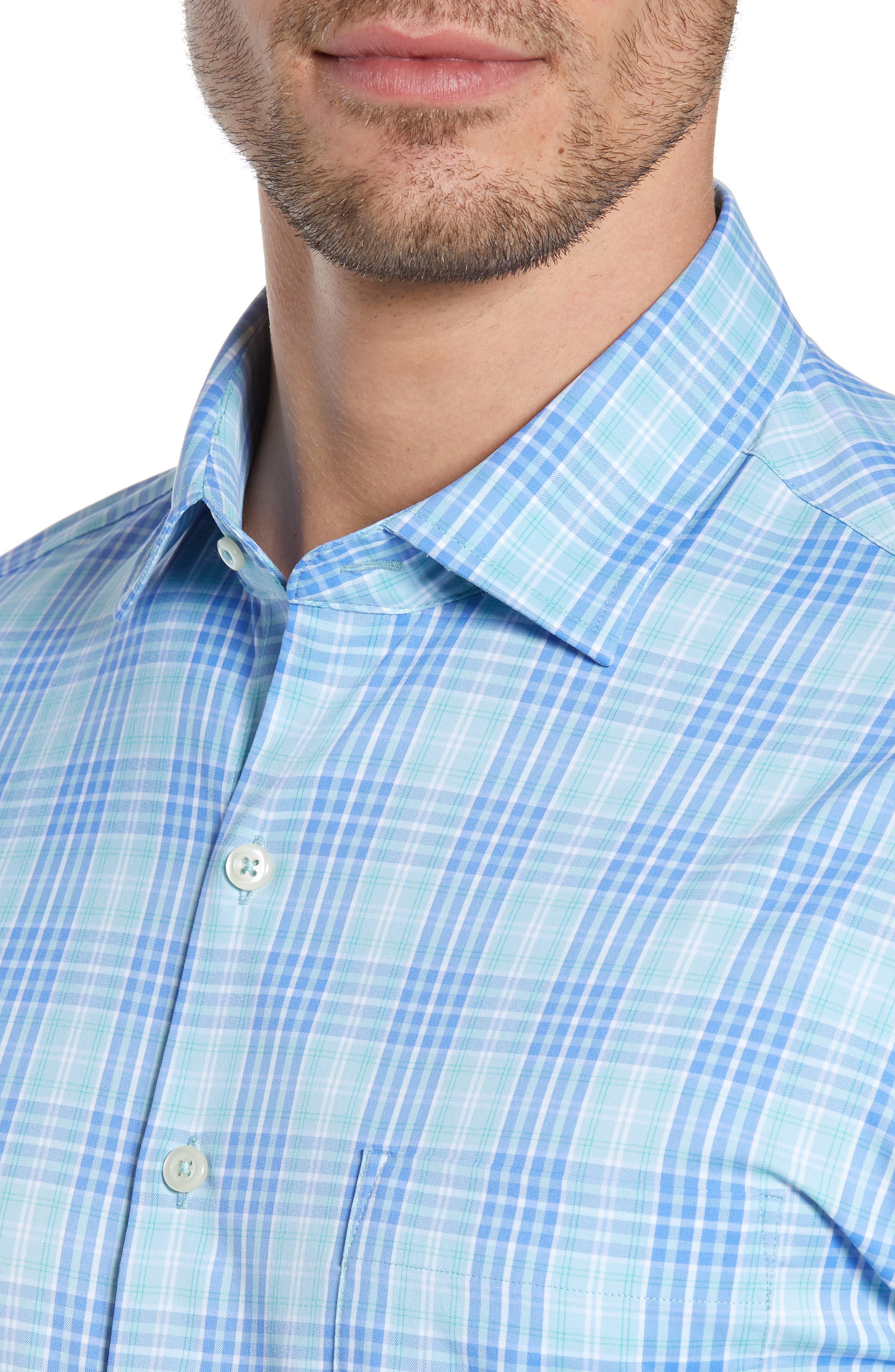 PETER MILLAR, Waterson Plaid Performance Sport Shirt, Alternate thumbnail 2, color, OASIS