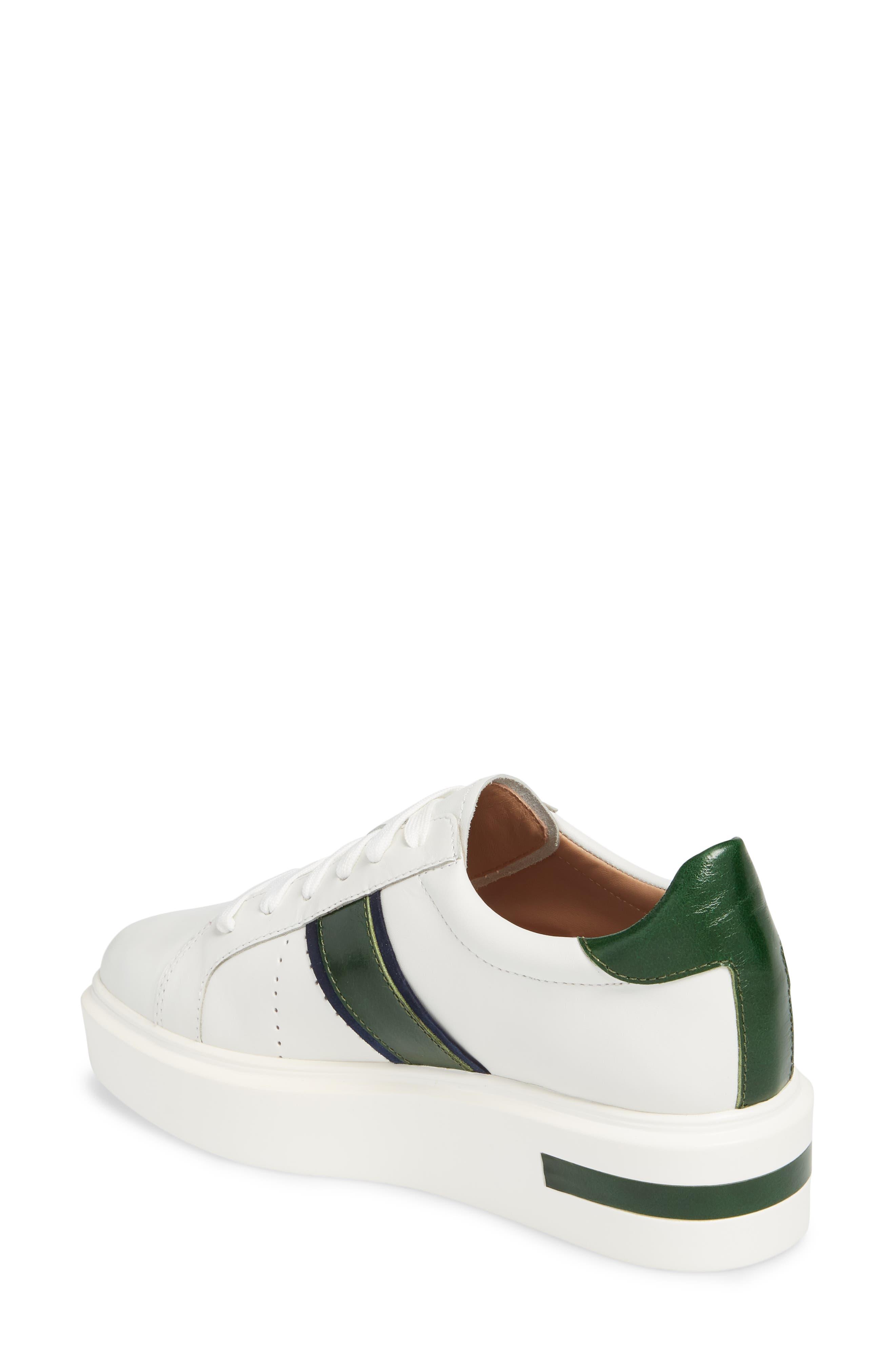 LINEA PAOLO, Knox Platform Sneaker, Alternate thumbnail 2, color, WHITE LEATHER