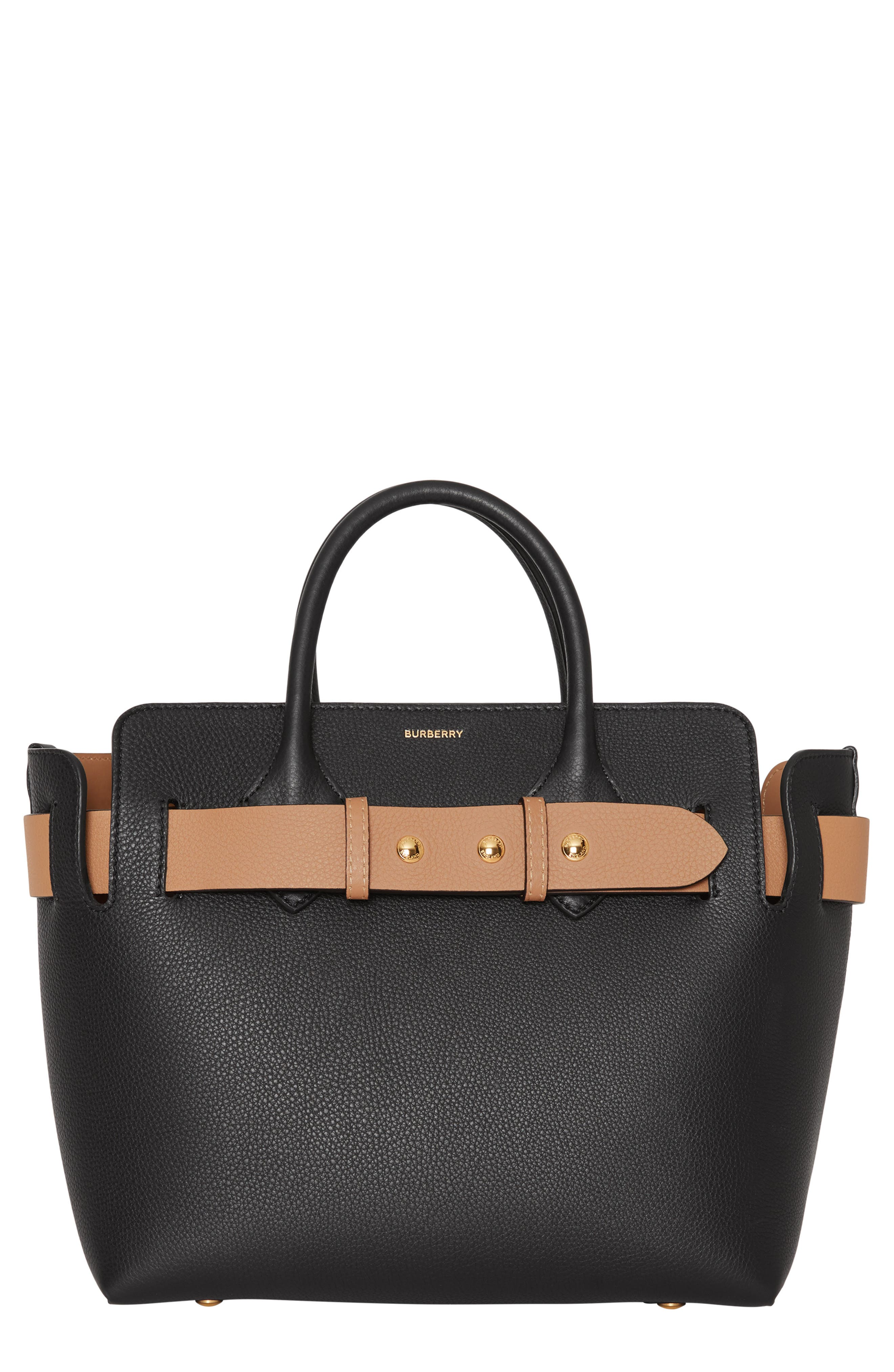 BURBERRY Small Belt Leather Satchel, Main, color, BLACK