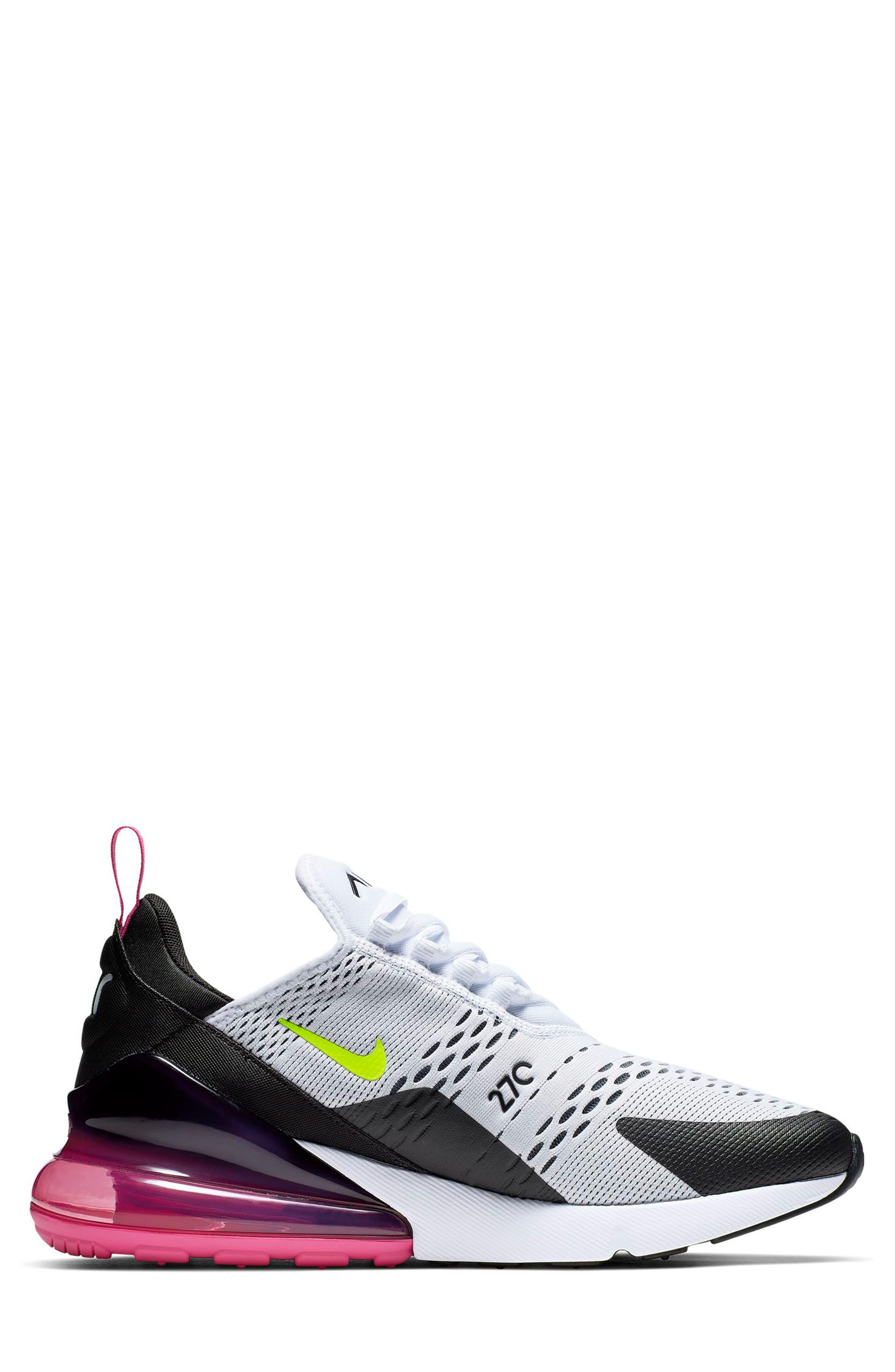 NIKE, Air Max 270 Sneaker, Alternate thumbnail 7, color, WHITE/ VOLT/ BLACK/ FUCHSIA