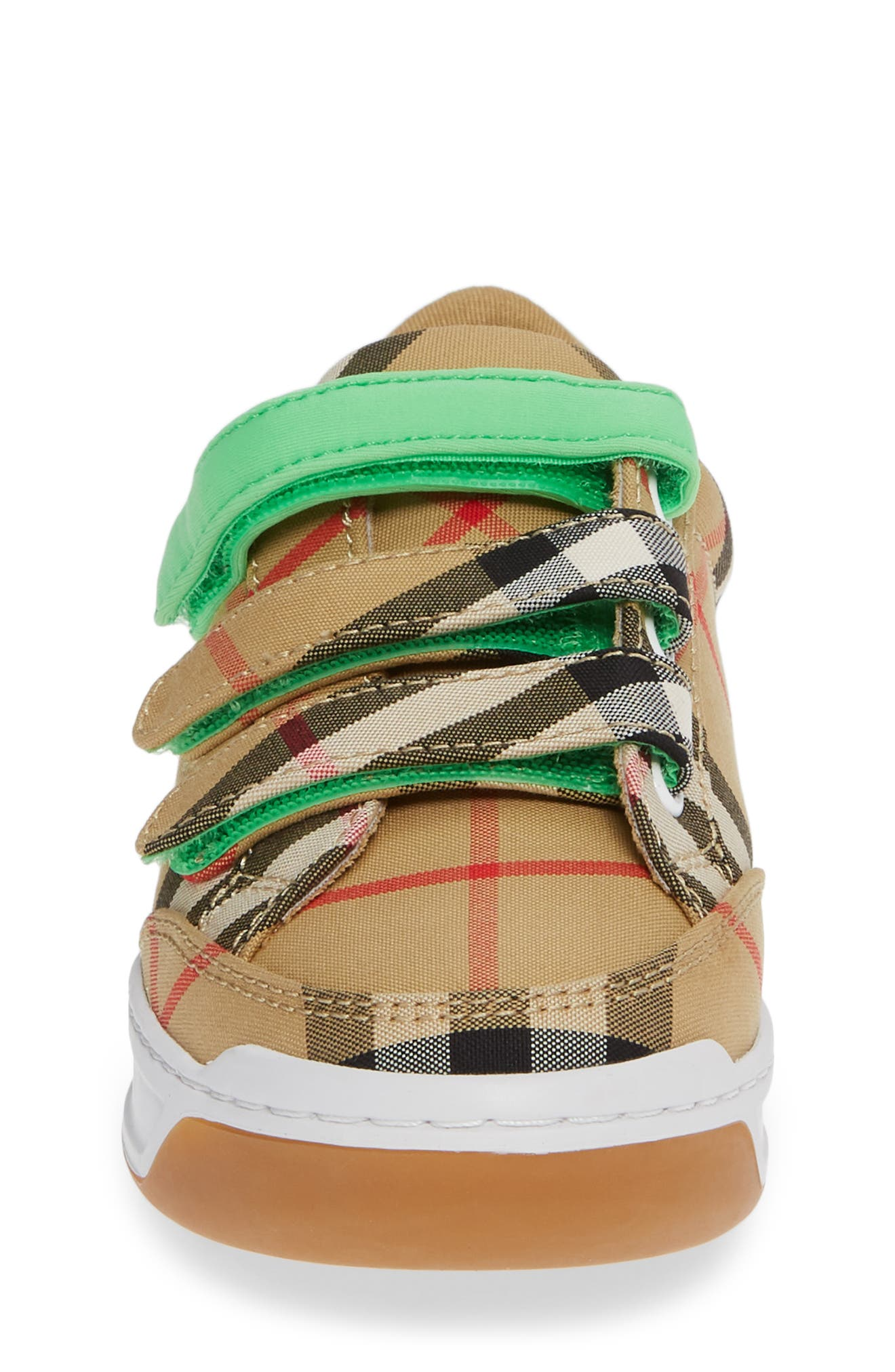 BURBERRY, Groves Low Top Sneaker, Alternate thumbnail 4, color, NEON GREEN