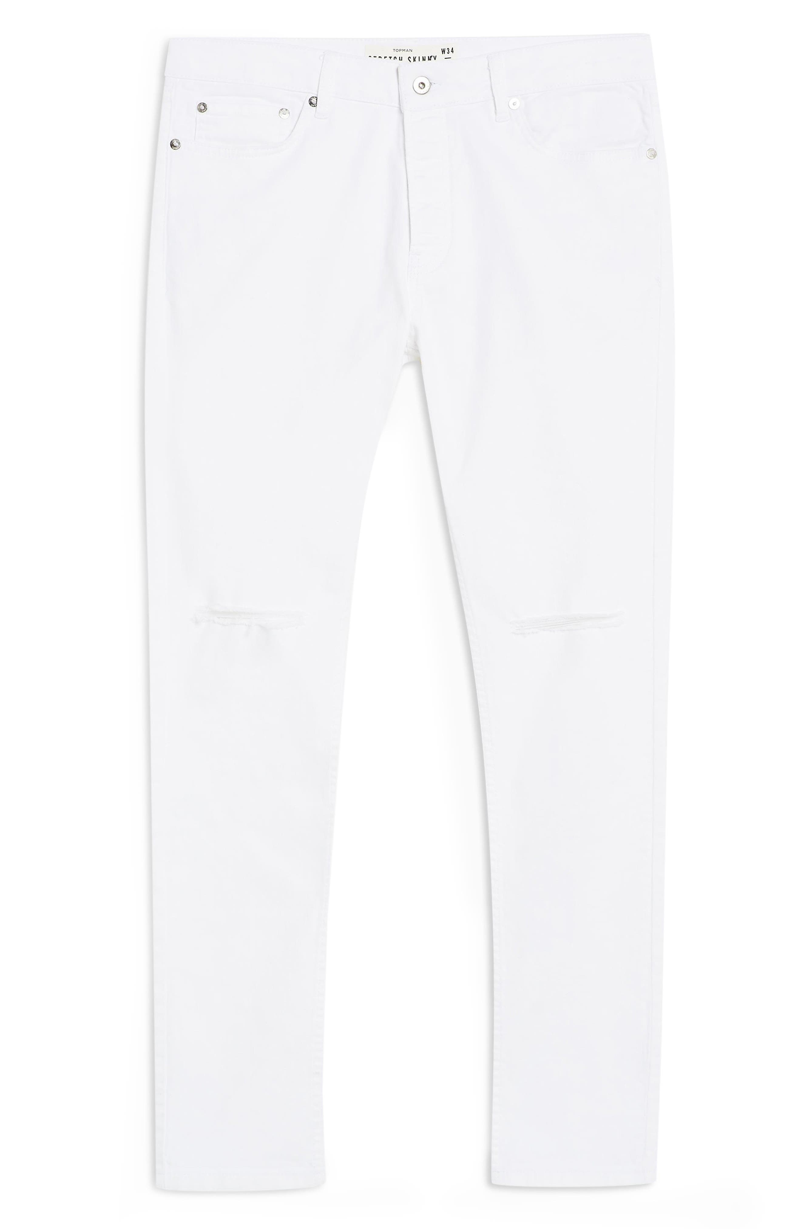 TOPMAN, Ripped Stretch Skinny Fit Jeans, Alternate thumbnail 4, color, WHITE