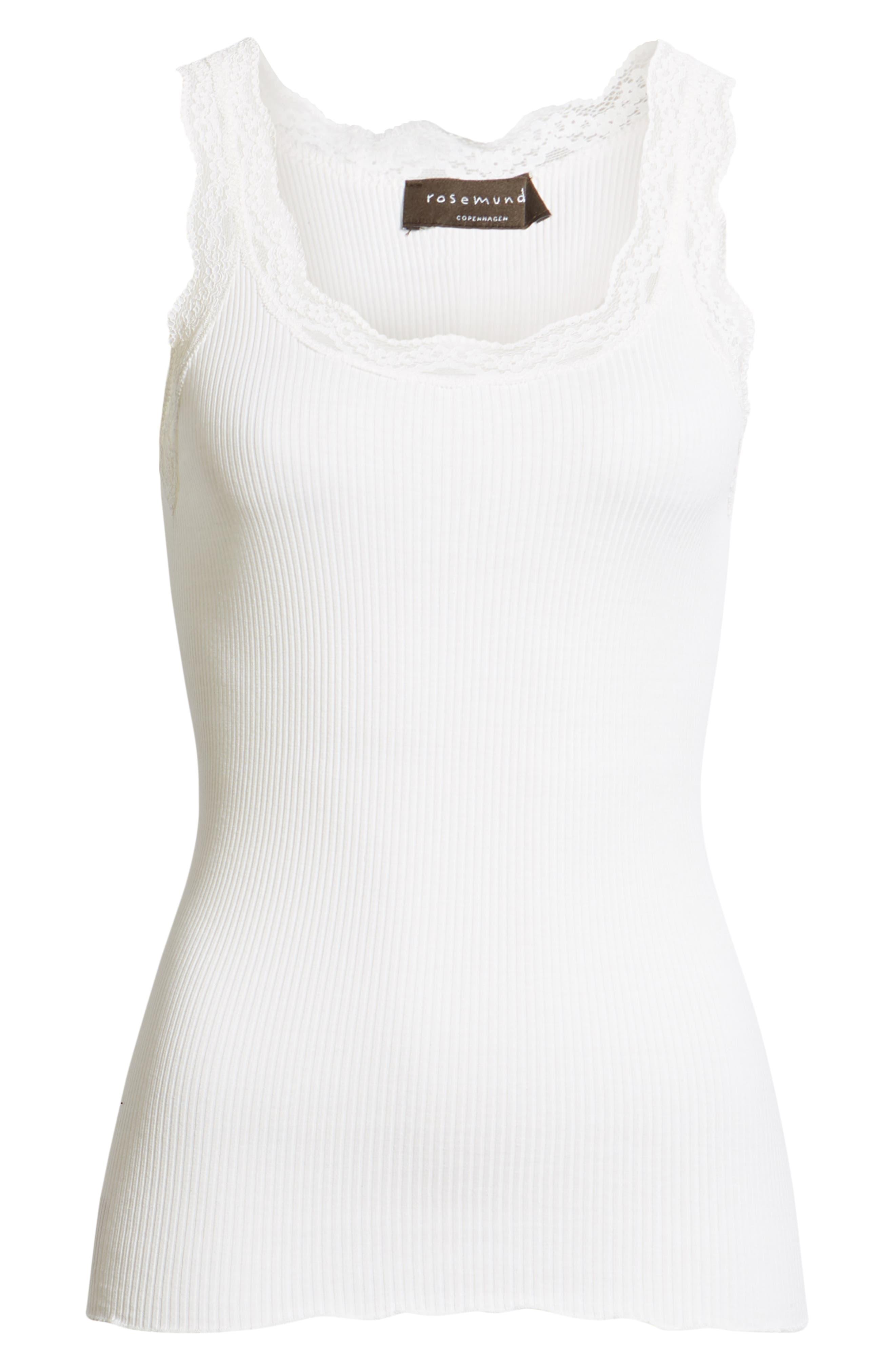 ROSEMUNDE, Lace Trim Rib Silk Blend Tank, Alternate thumbnail 6, color, NEW WHITE