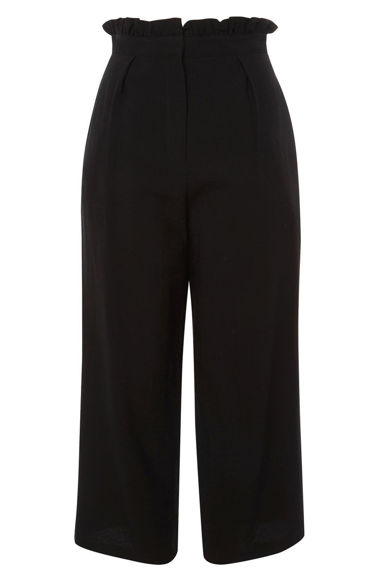 TOPSHOP, Ruffle Waist Trousers, Alternate thumbnail 3, color, 001