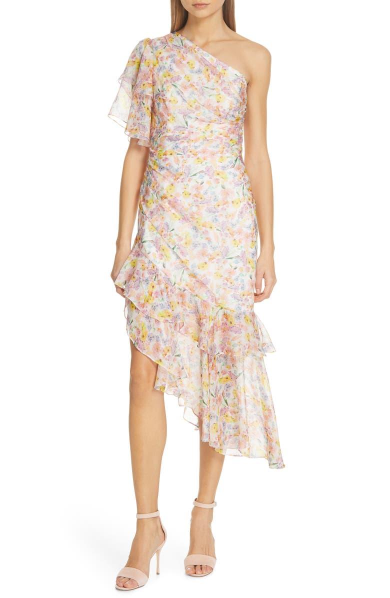Amur Dresses CLAYTON FLORAL PRINT SILK ONE-SHOULDER DRESS