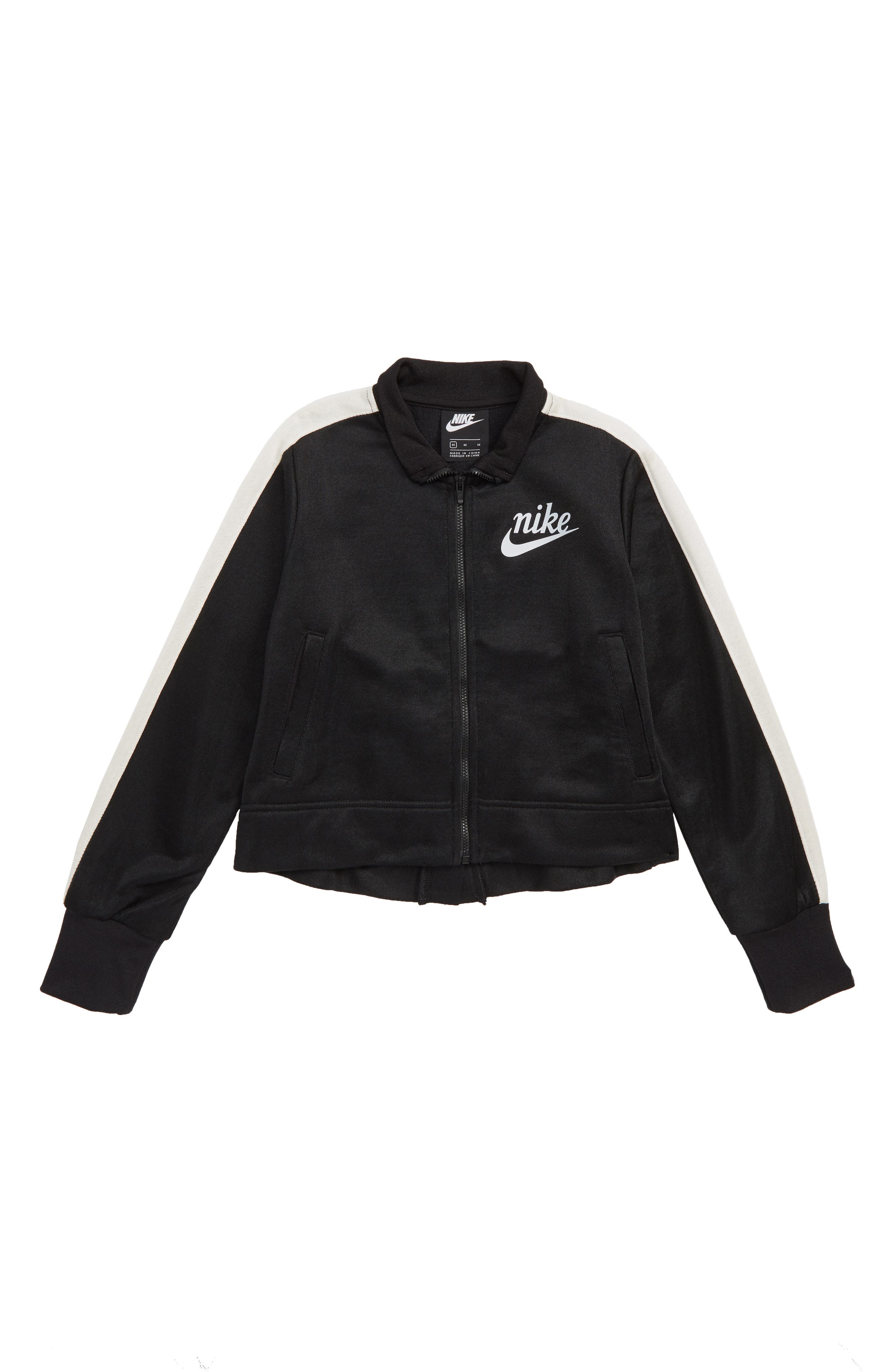 NIKE, Icon Shiny Crop Track Jacket, Main thumbnail 1, color, BLACK/ PALE IVORY/ SILVER