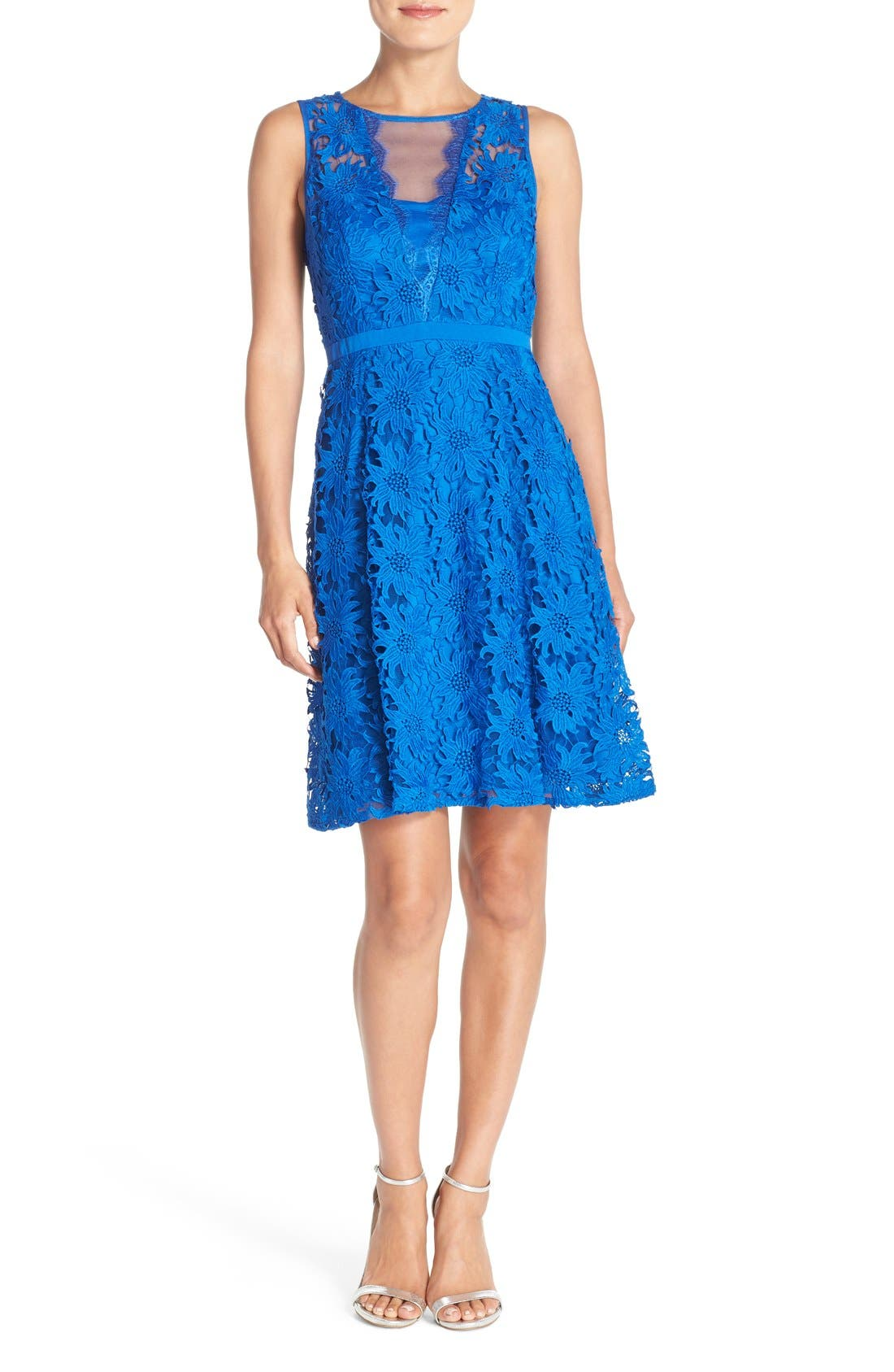 ADRIANNA PAPELL, Illusion Floral Lace Fit & Flare Dress, Alternate thumbnail 2, color, 433