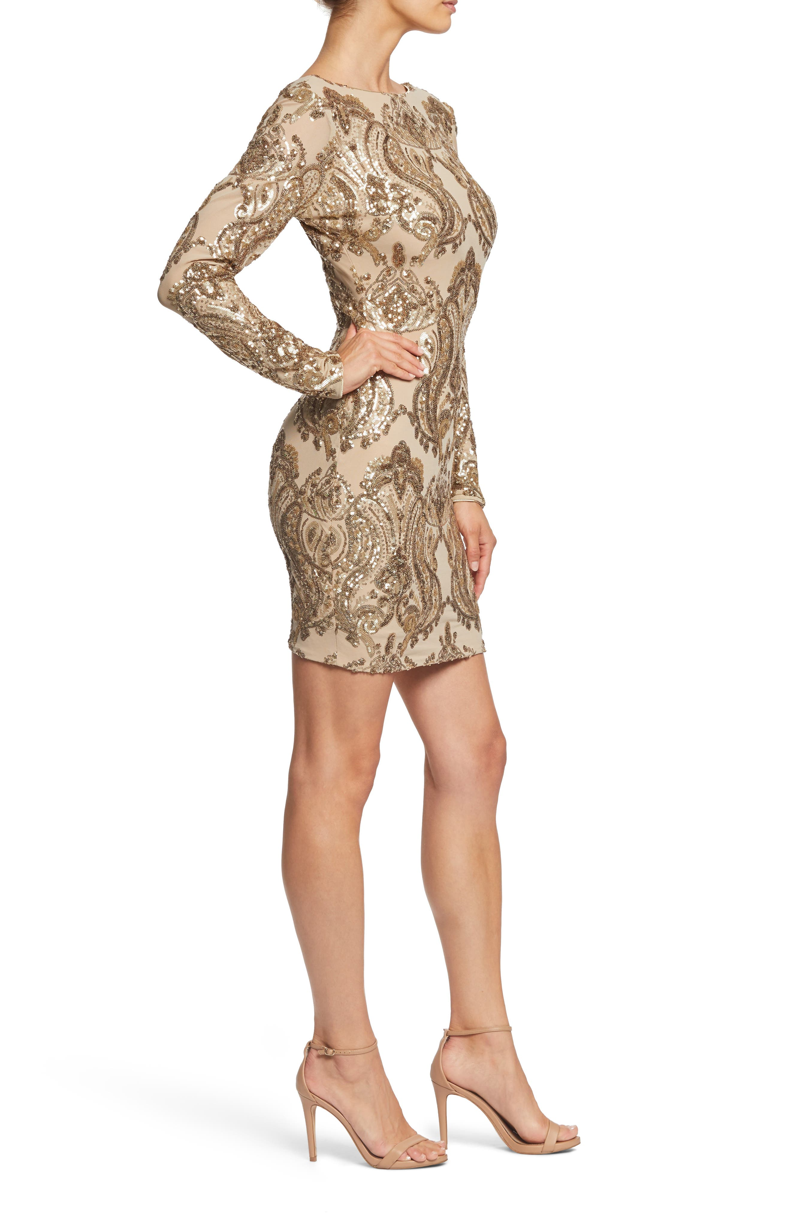 DRESS THE POPULATION, Lola Sequin Body-Con Dress, Alternate thumbnail 3, color, NUDE/ GOLD