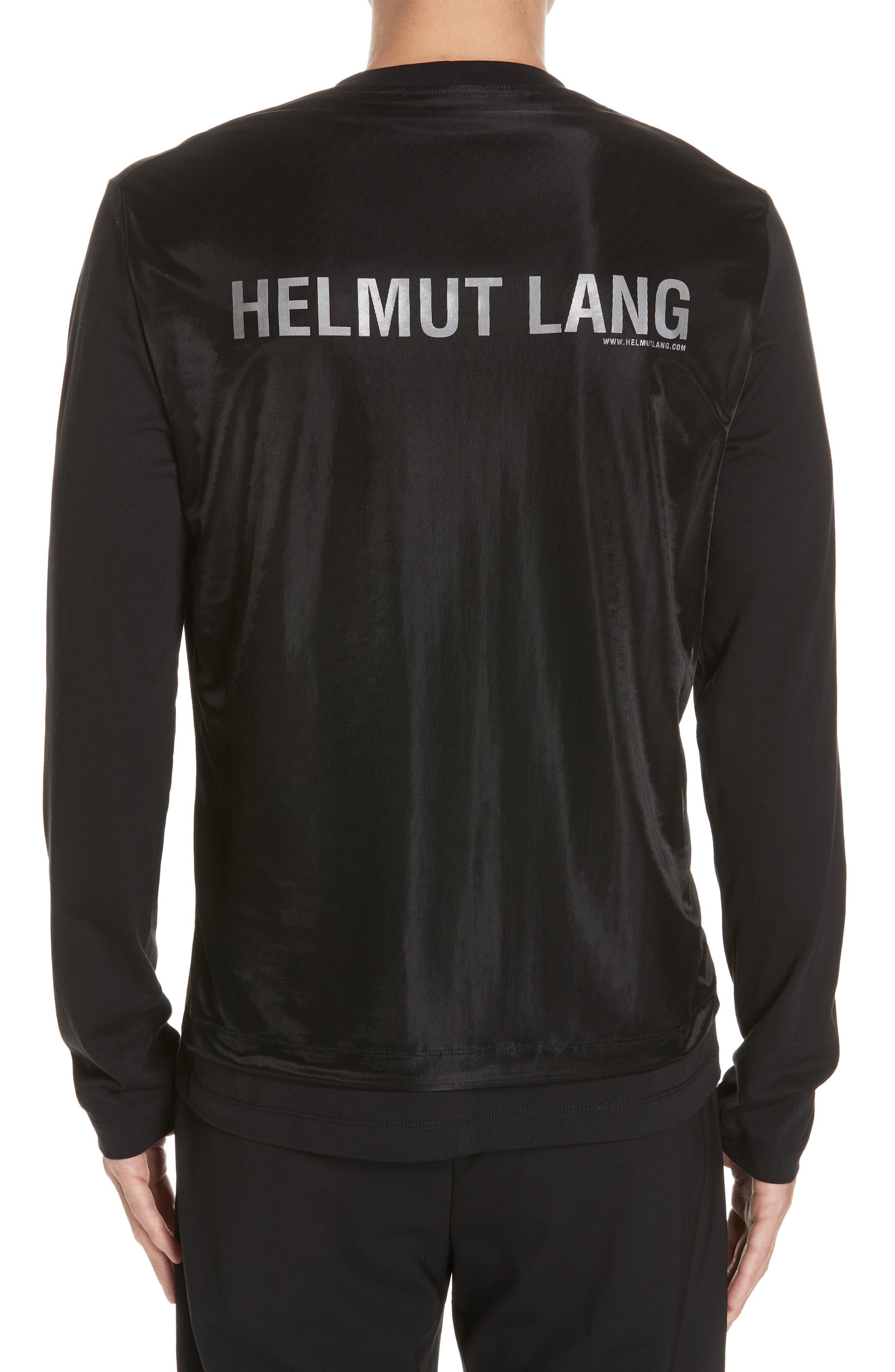 HELMUT LANG, Overlay Long Sleeve T-Shirt, Alternate thumbnail 2, color, BLACK