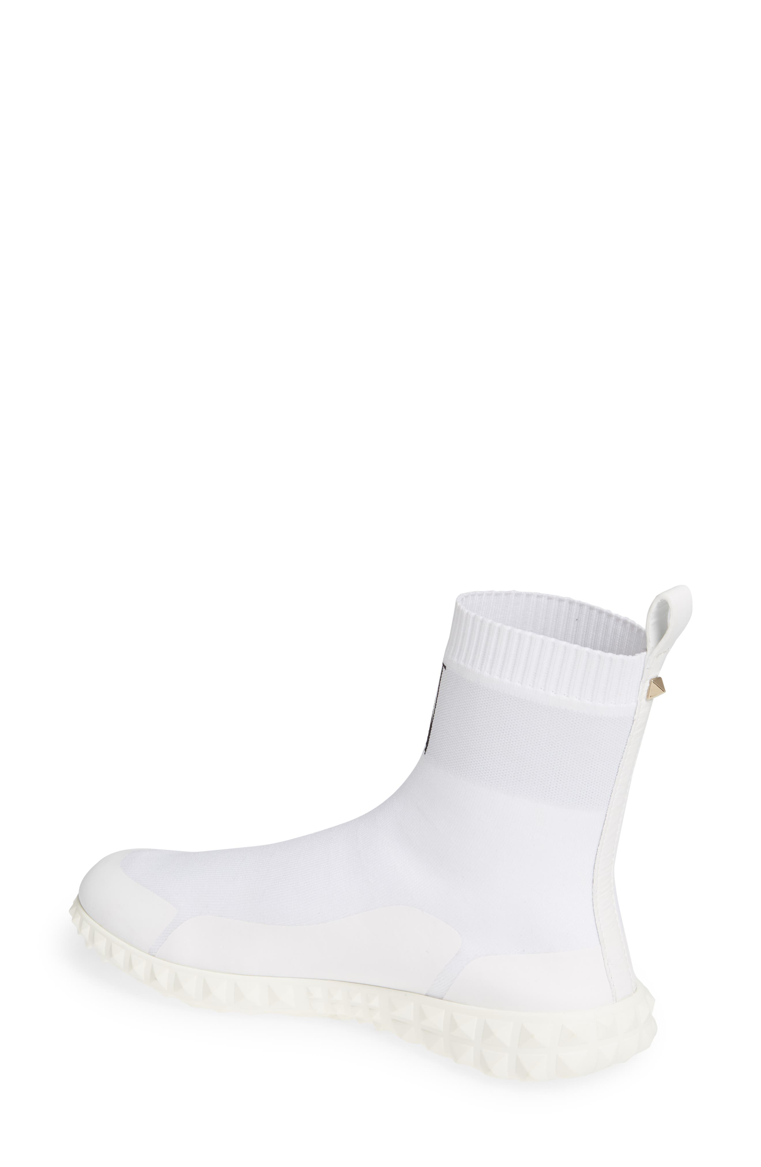 VALENTINO GARAVANI, VLTN Slip-On Sock Sneaker, Alternate thumbnail 2, color, WHITE