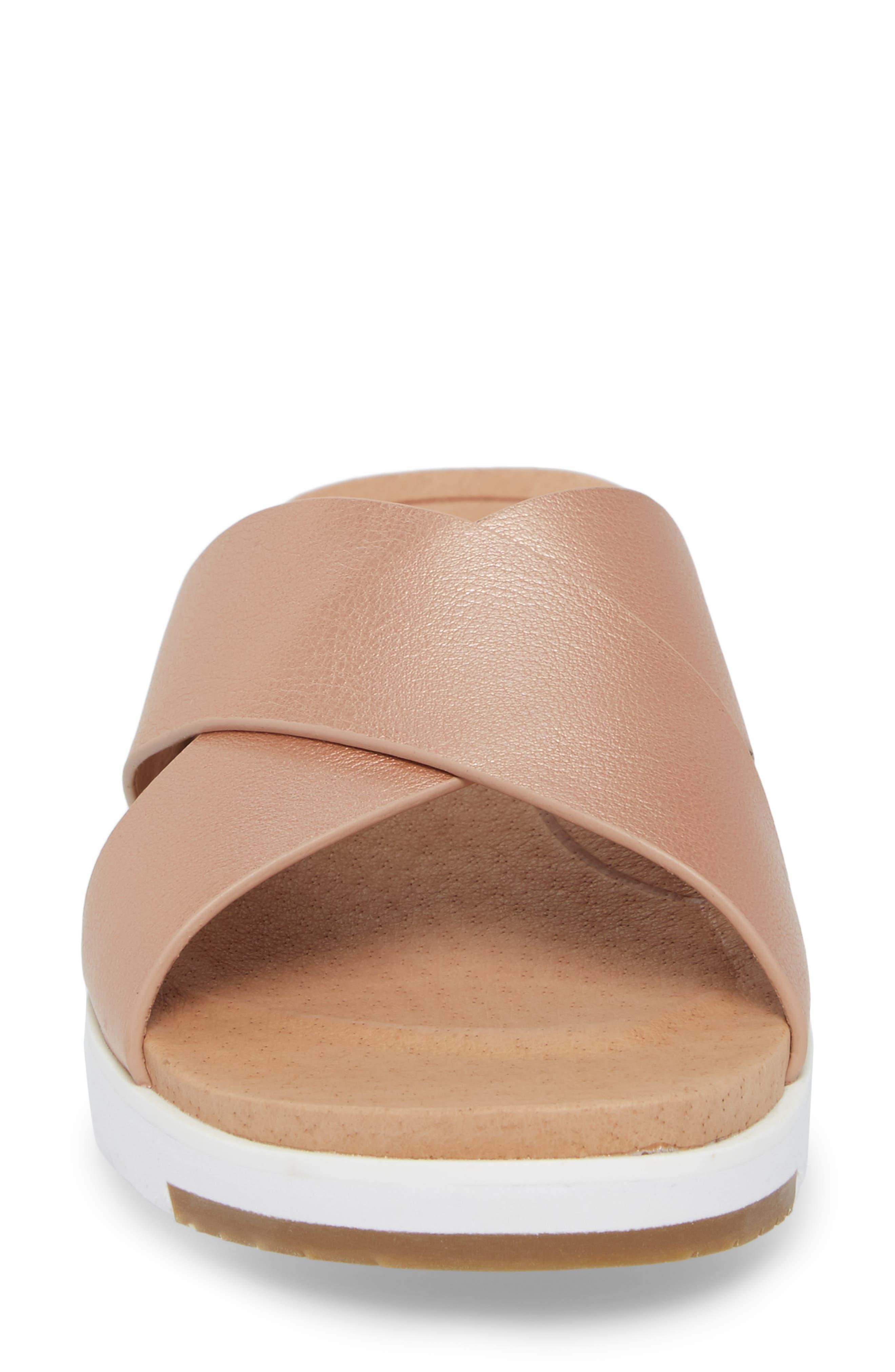 UGG<SUP>®</SUP>, Kari Slide Sandal, Alternate thumbnail 4, color, ROSE GOLD LEATHER