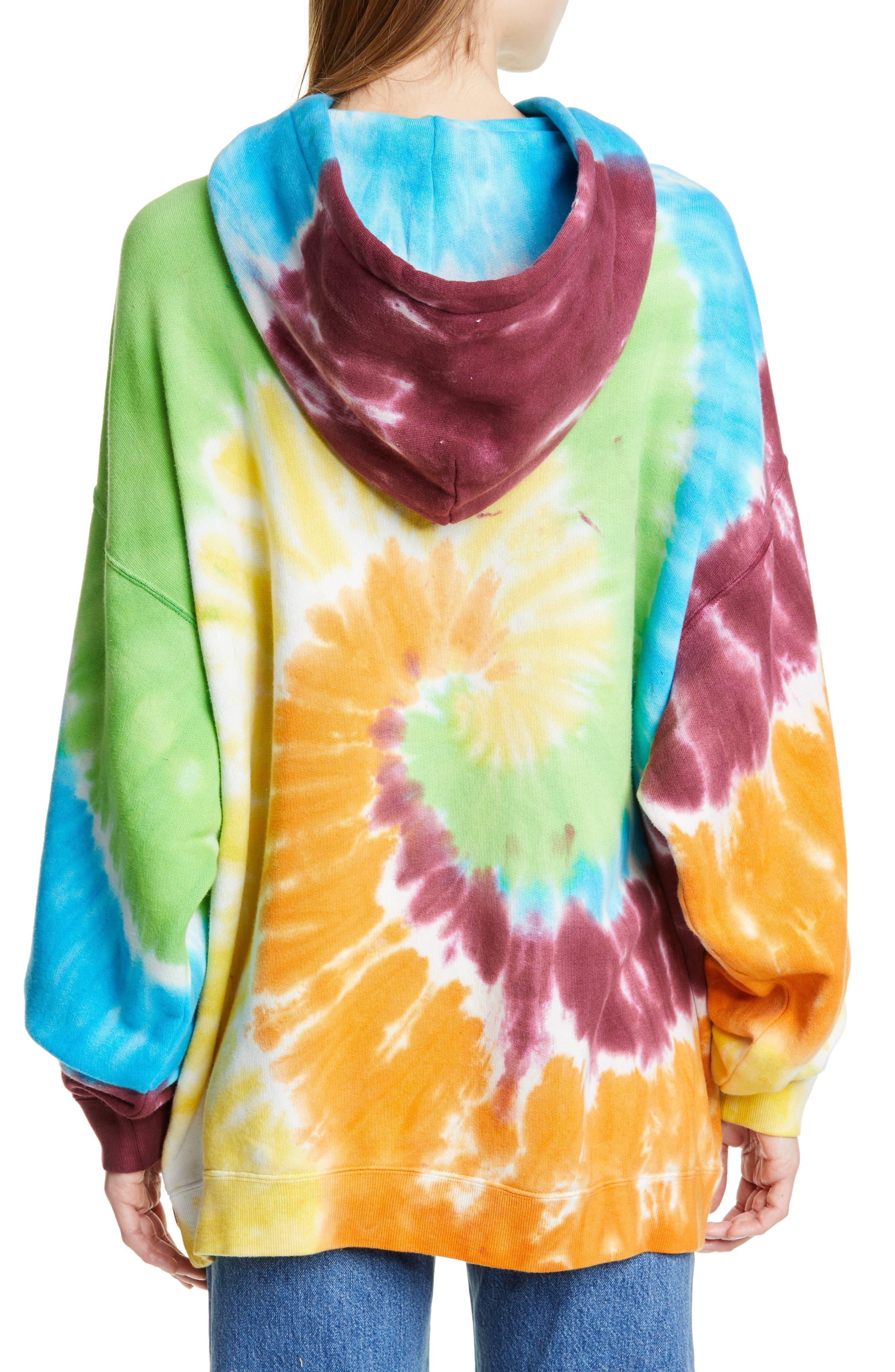 R13, Tie Dye Rainbow Hoodie, Alternate thumbnail 2, color, TIE DYE