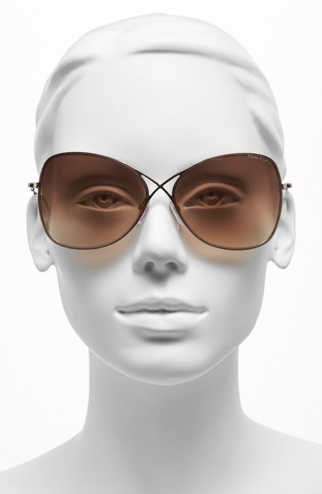 TOM FORD, 'Colette' 63mm Oversize Sunglasses, Alternate thumbnail 2, color, SHINY ROSE GOLD/ DARK BROWN