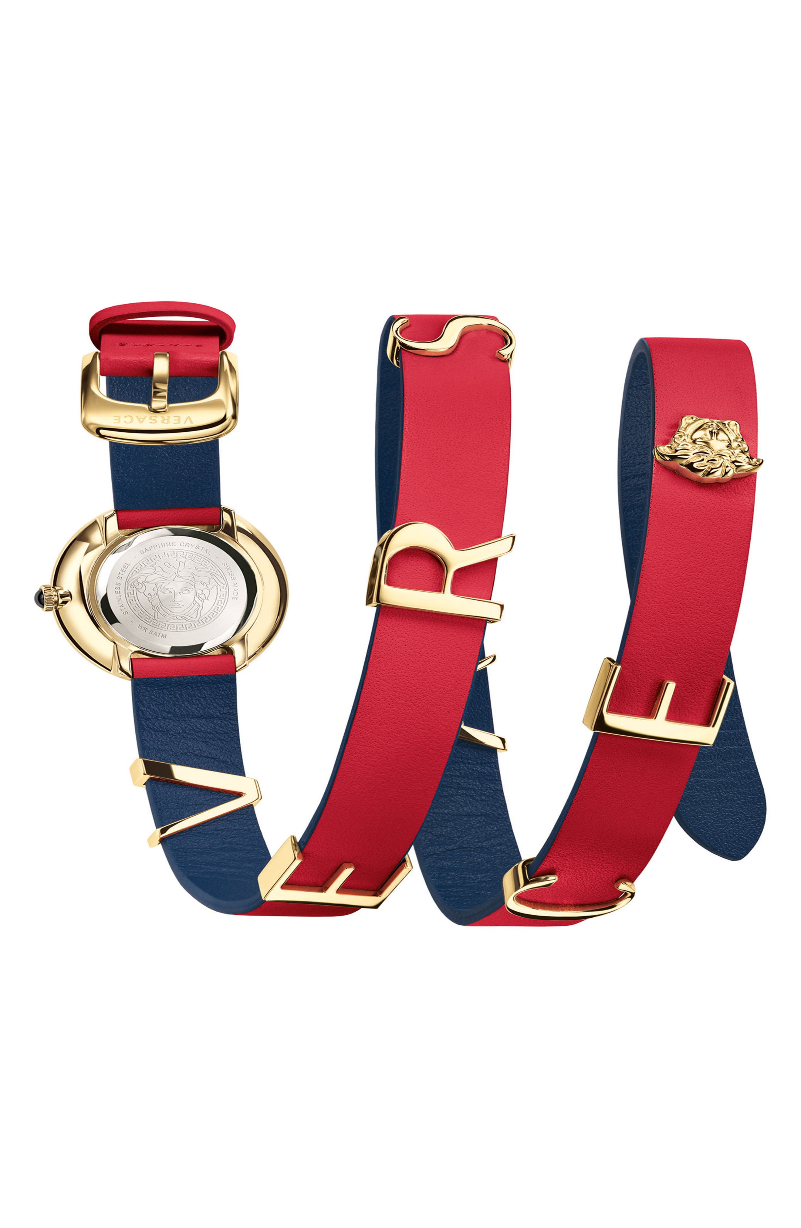 VERSACE, V-Flare Double Wrap Leather Strap Watch, 28mm, Alternate thumbnail 2, color, RED/ SILVER/ GOLD