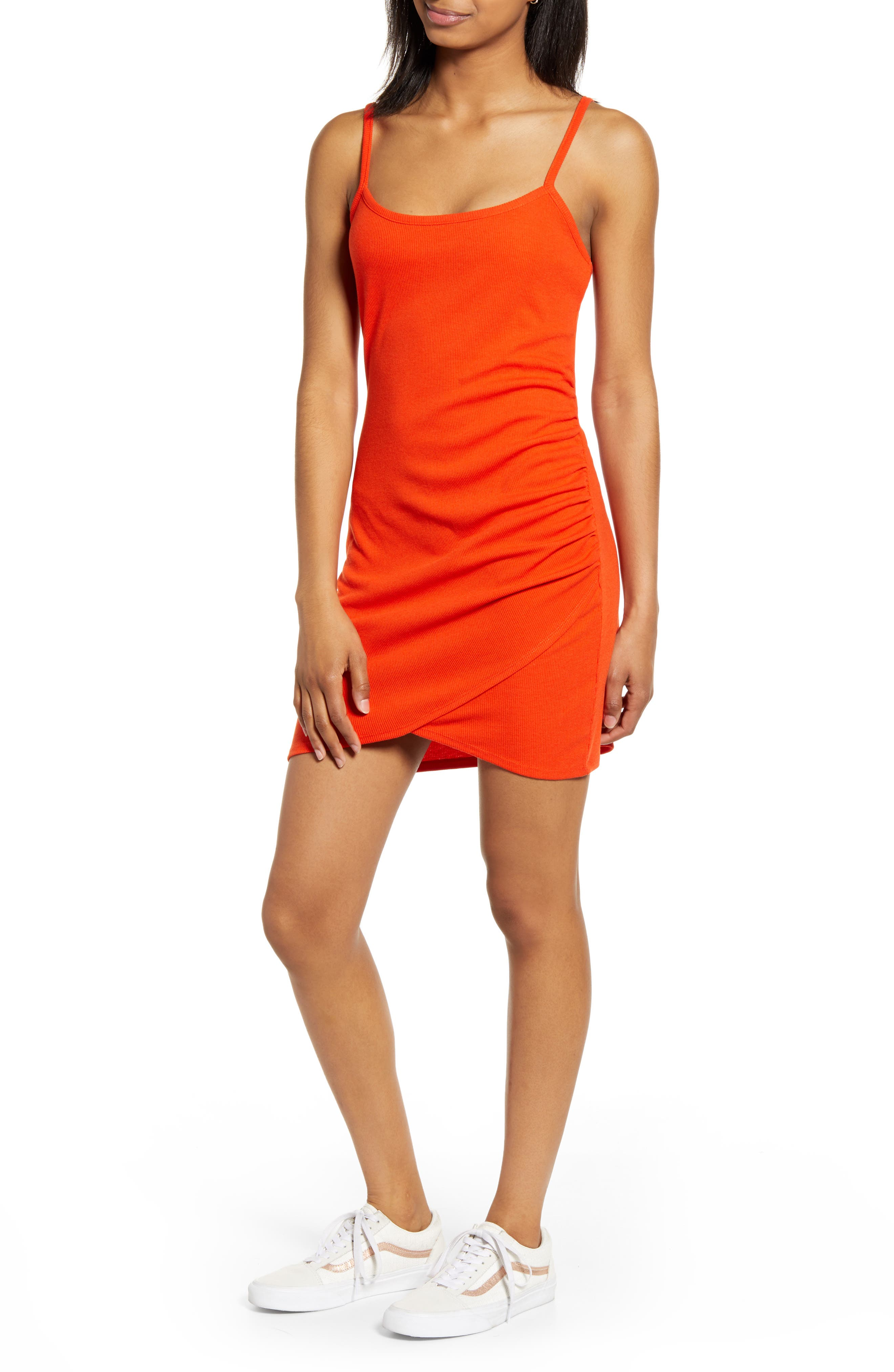 Love, Fire Side Ruched Camisole Dress, Red