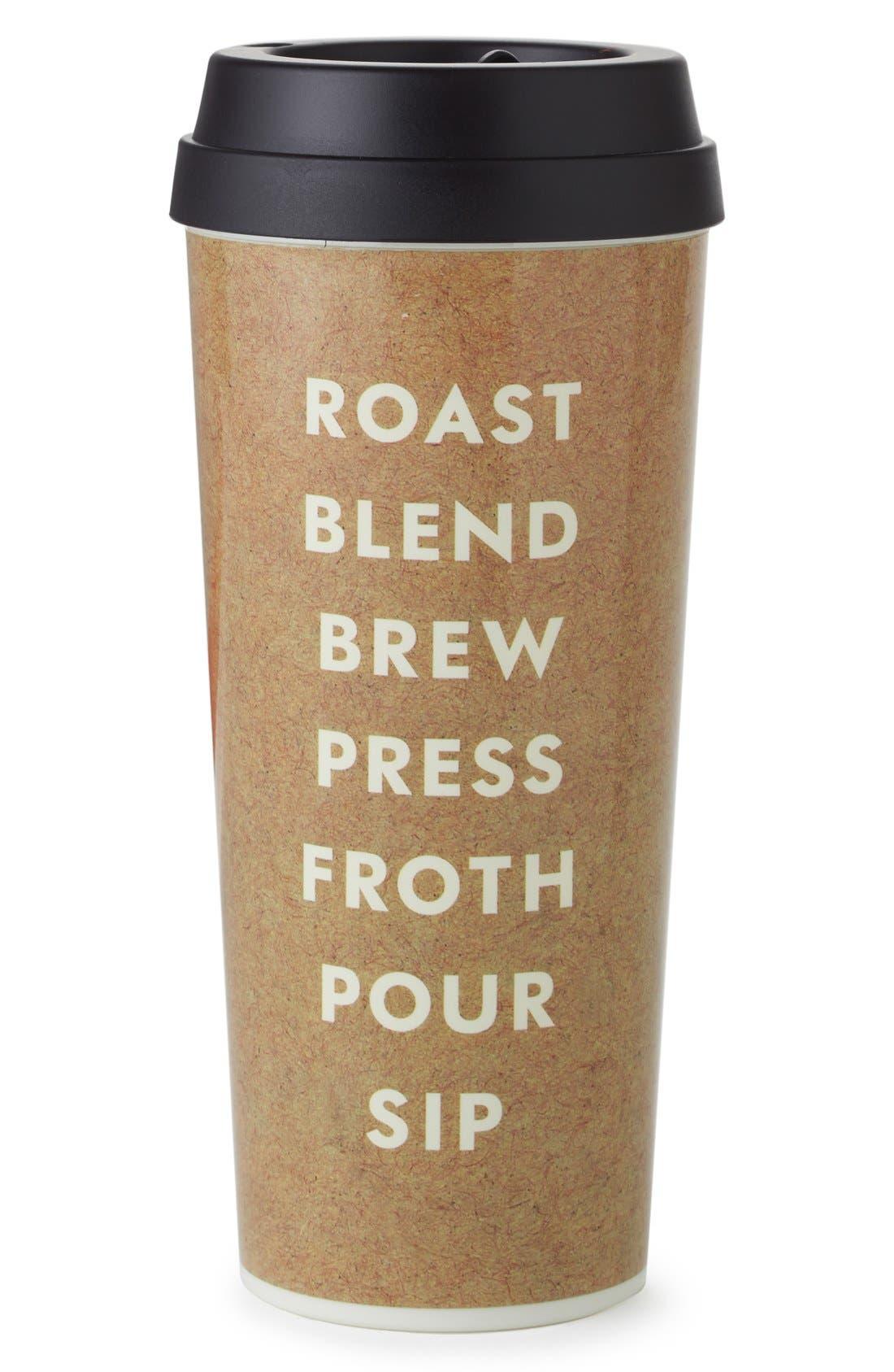 KATE SPADE NEW YORK, 'roast blend brew press froth pour sip' thermal mug, Main thumbnail 1, color, 200