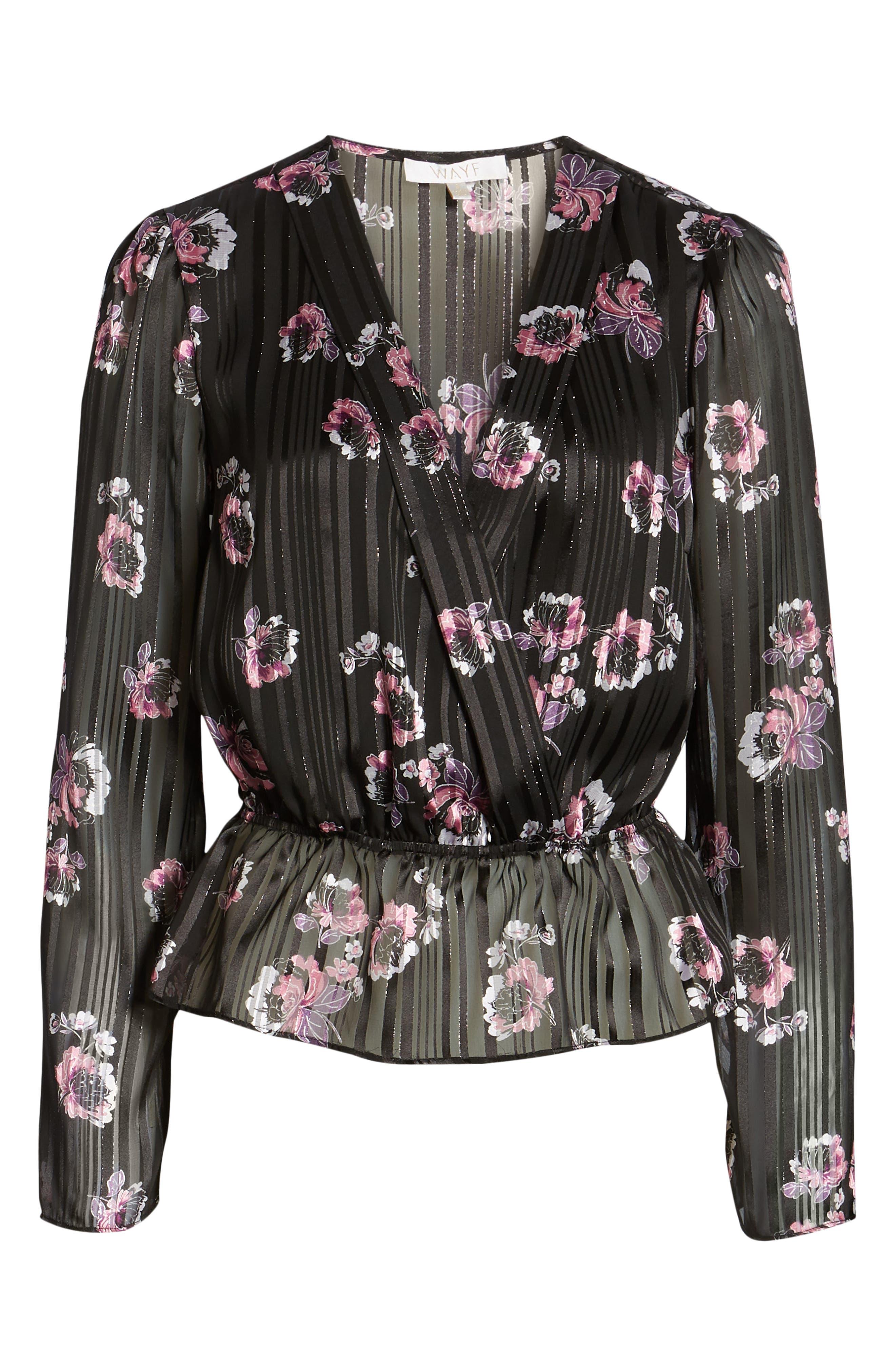 WAYF, Floral Print Peplum Top, Alternate thumbnail 6, color, BLACK FLORAL SHADOW STRIPE