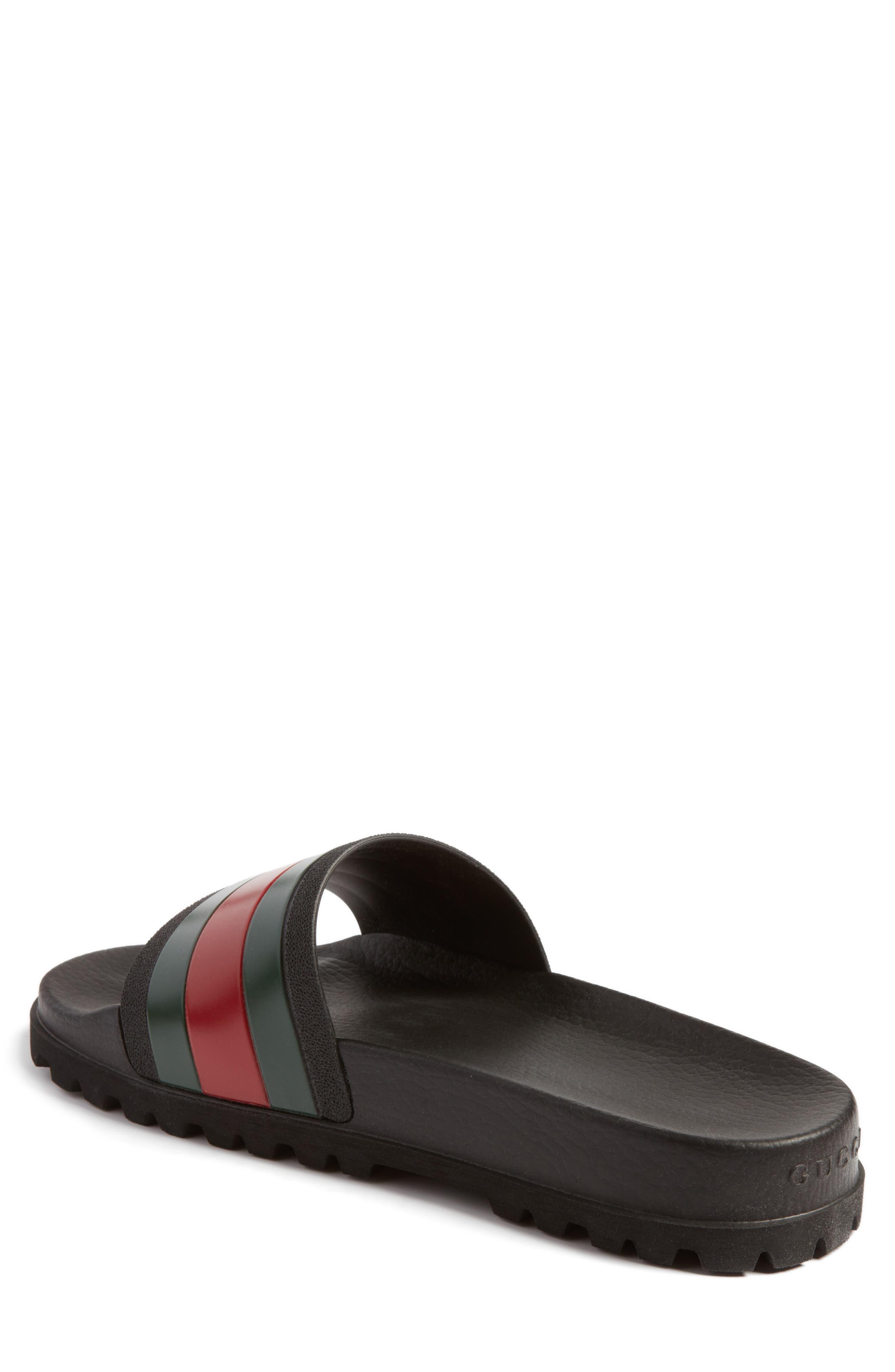 GUCCI, 'Pursuit Treck' Slide Sandal, Alternate thumbnail 2, color, NERO/NERO
