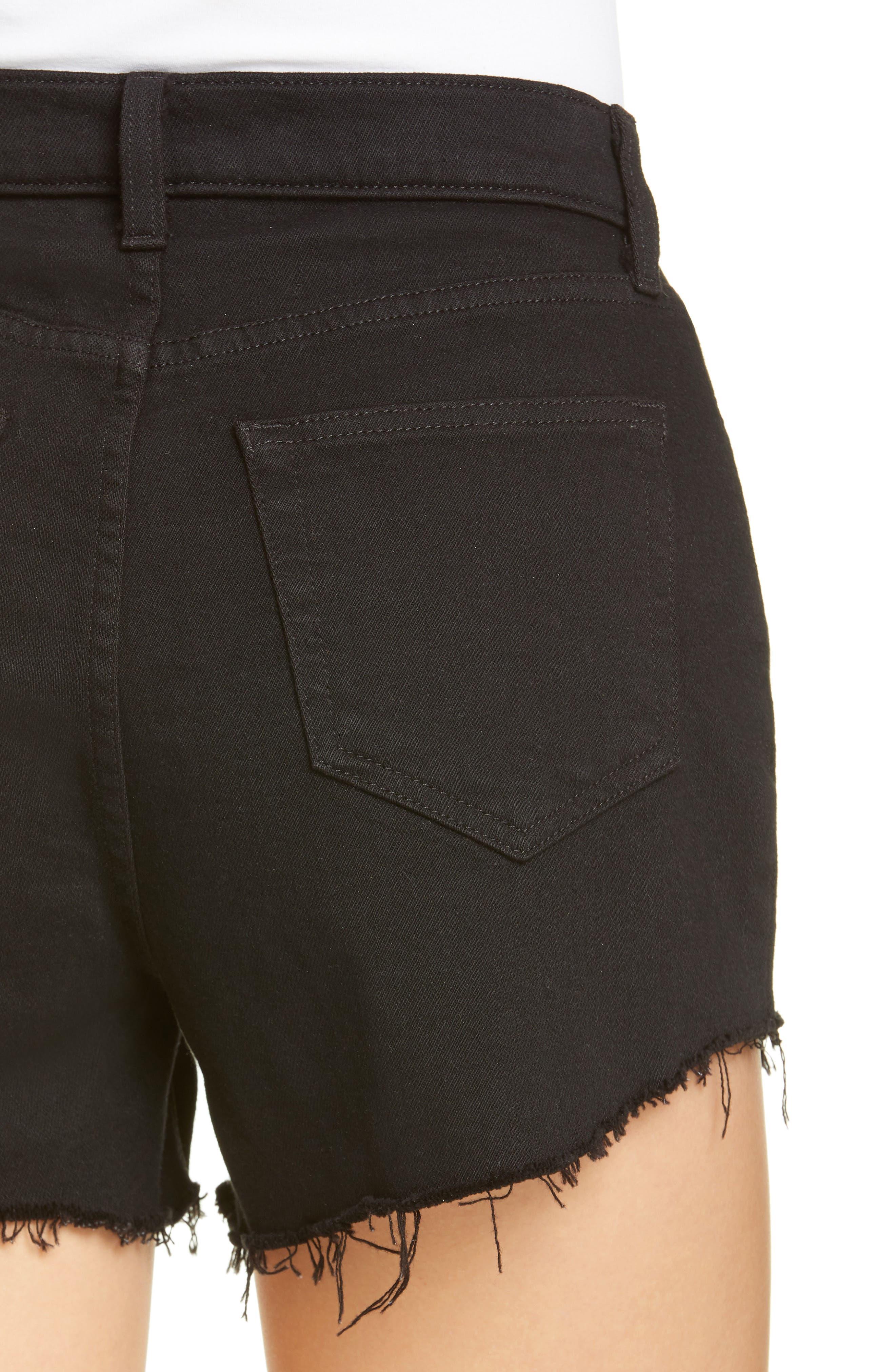 L'AGENCE, Ryland High Waist Denim Shorts, Alternate thumbnail 5, color, NOIR