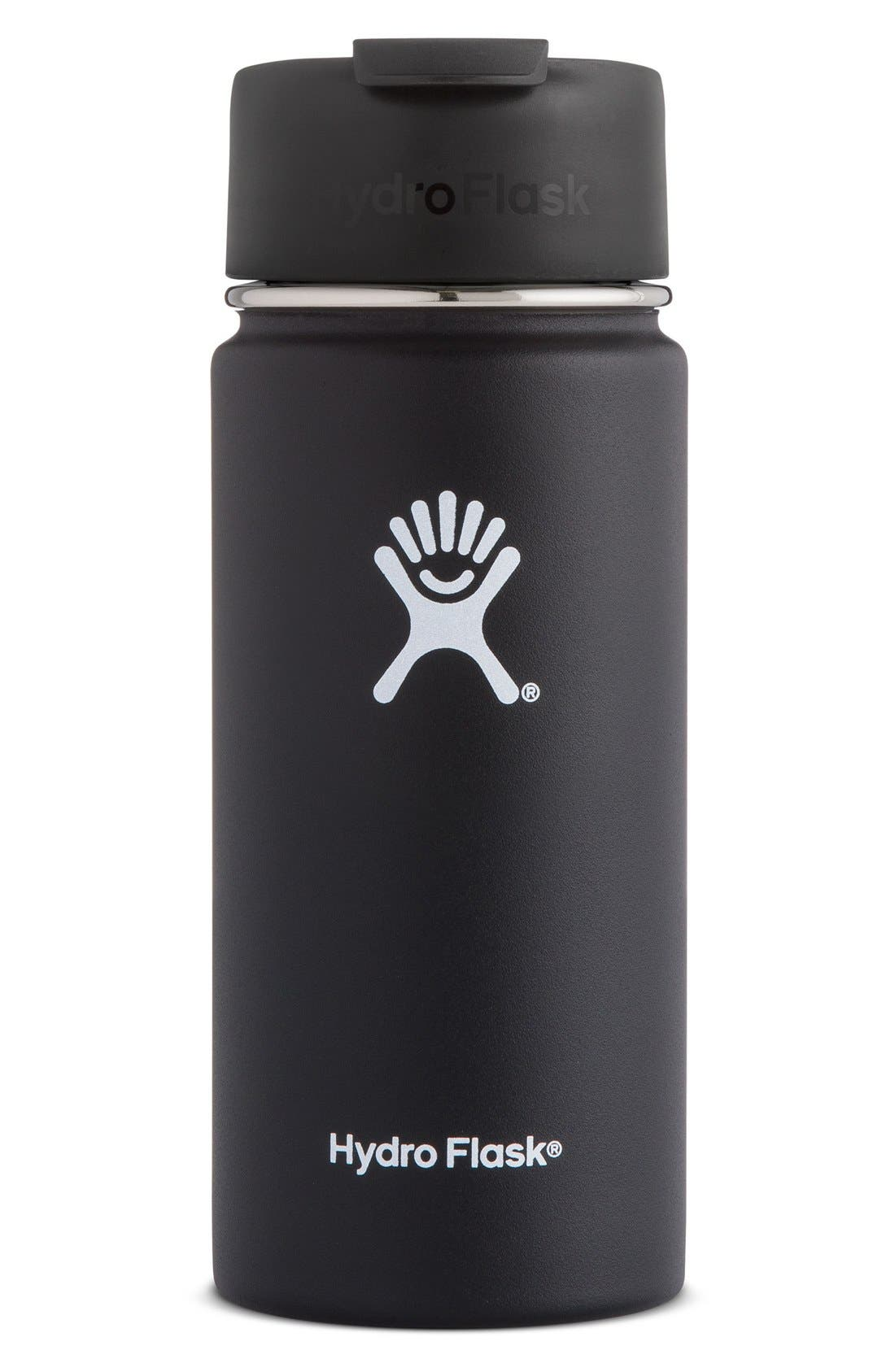 HYDRO FLASK, 16-Ounce Wide Mouth Coffee Thermos, Main thumbnail 1, color, BLACK