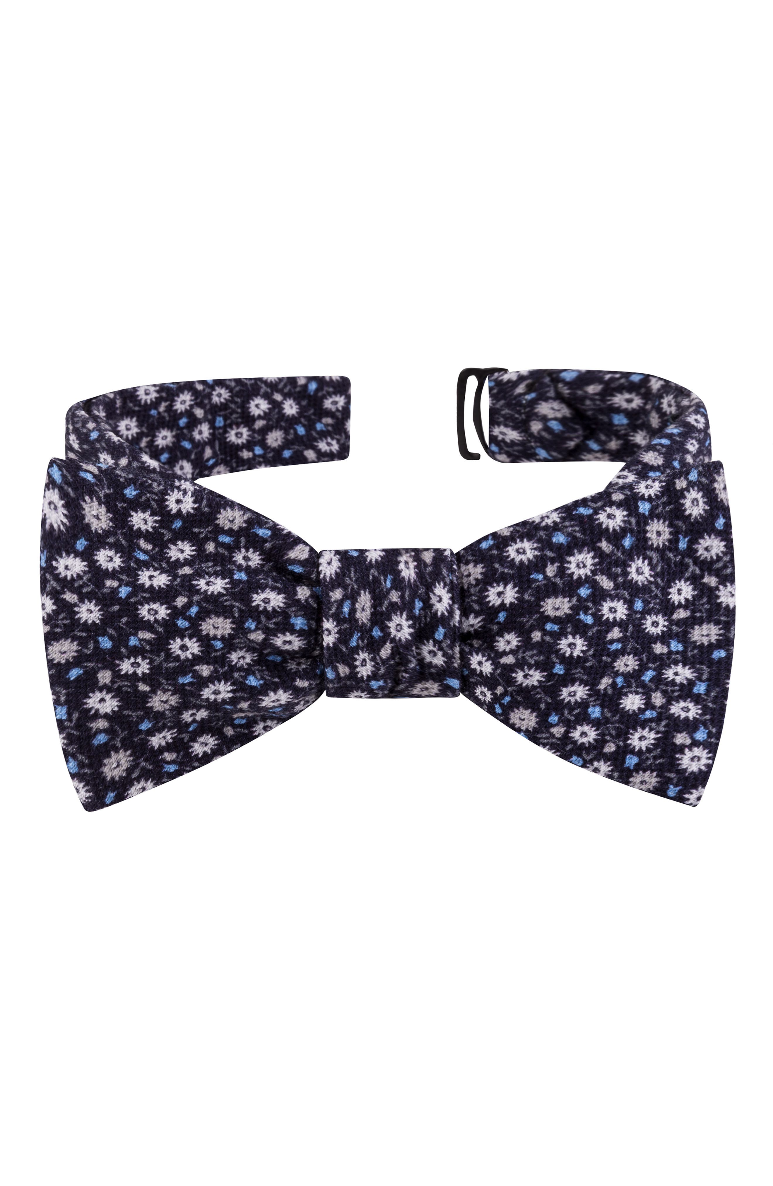 TED BAKER LONDON, Small Flower Silk Bow Tie, Main thumbnail 1, color, BLACK