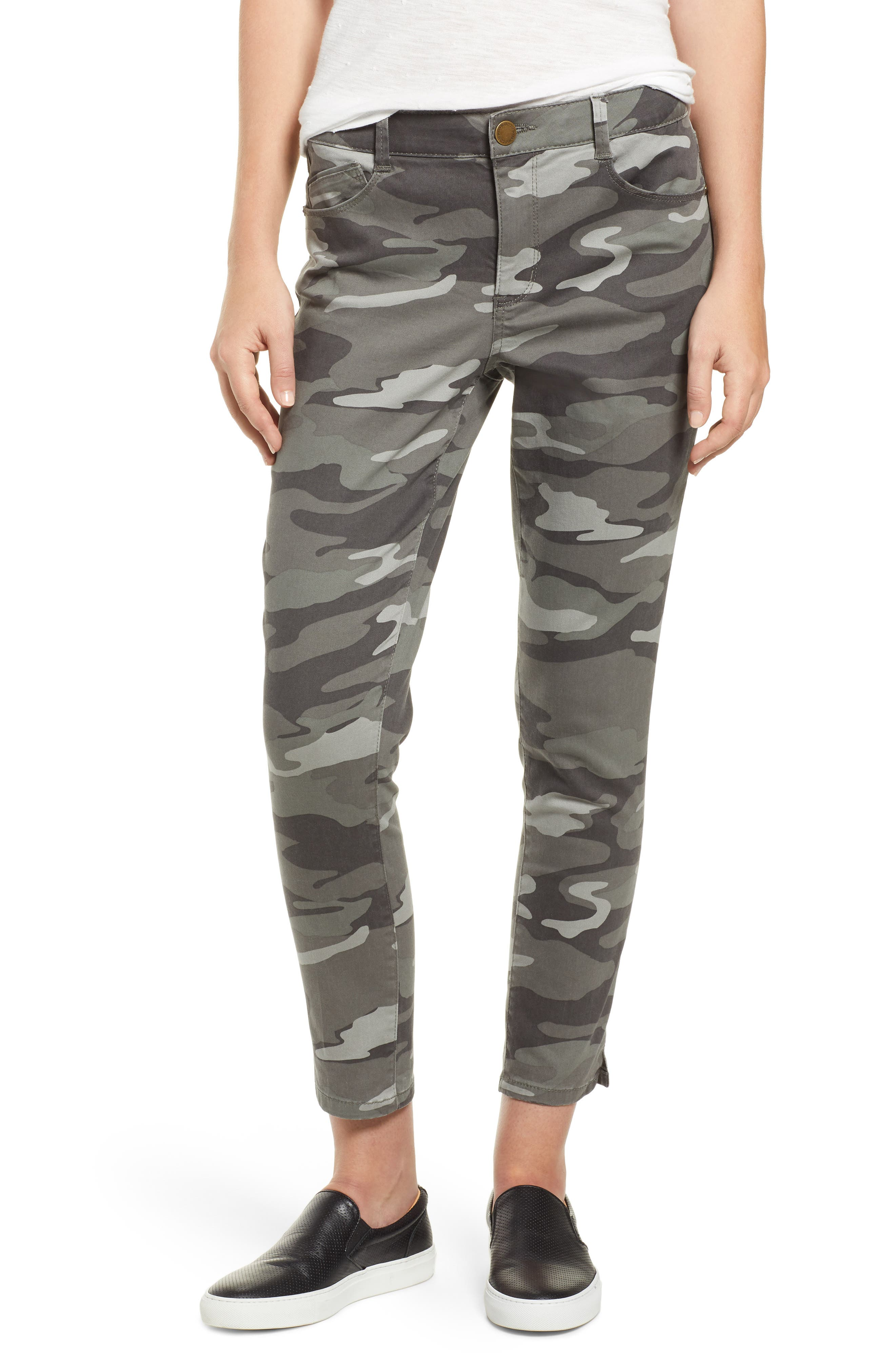 WIT & WISDOM, Ab-Solution Camo High Waist Ankle Skinny Pants, Main thumbnail 1, color, SAGE CAMO