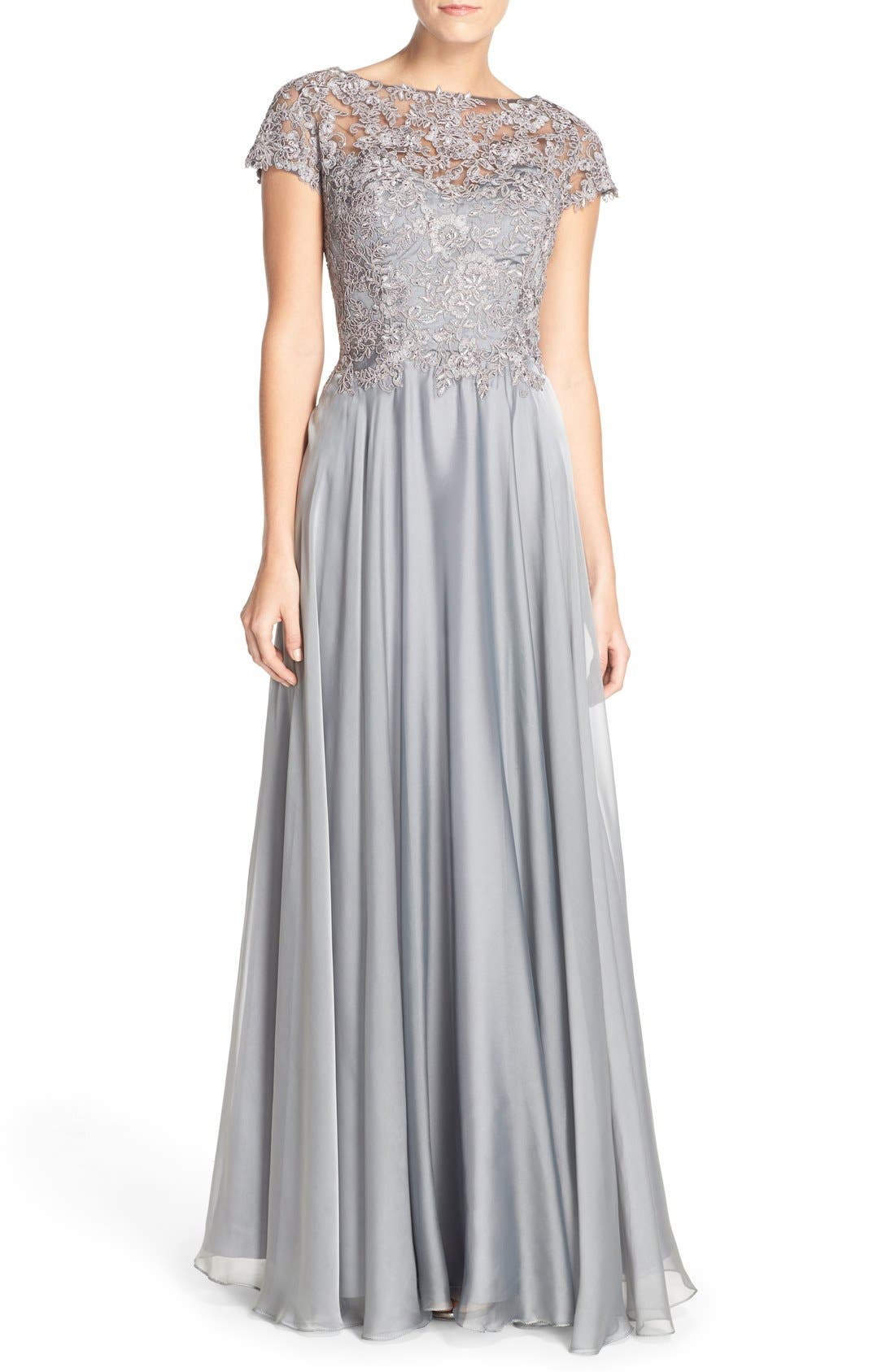 LA FEMME Embellished Lace & Satin Ballgown, Main, color, PLATINUM