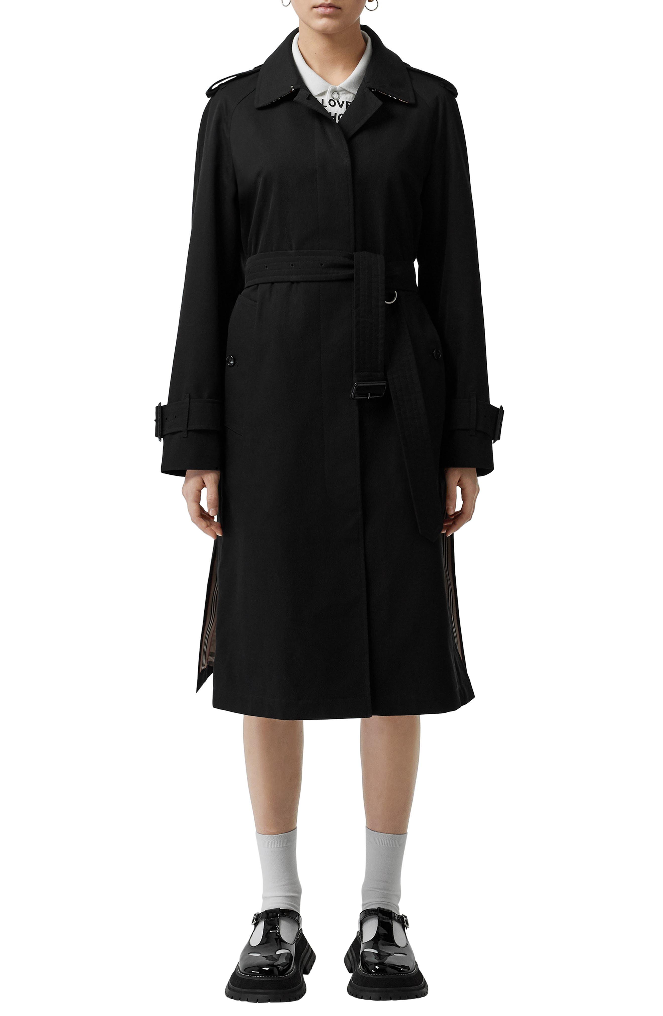 BURBERRY Crostwick Side Slit Tropical Gabardine Trench Coat, Main, color, BLACK