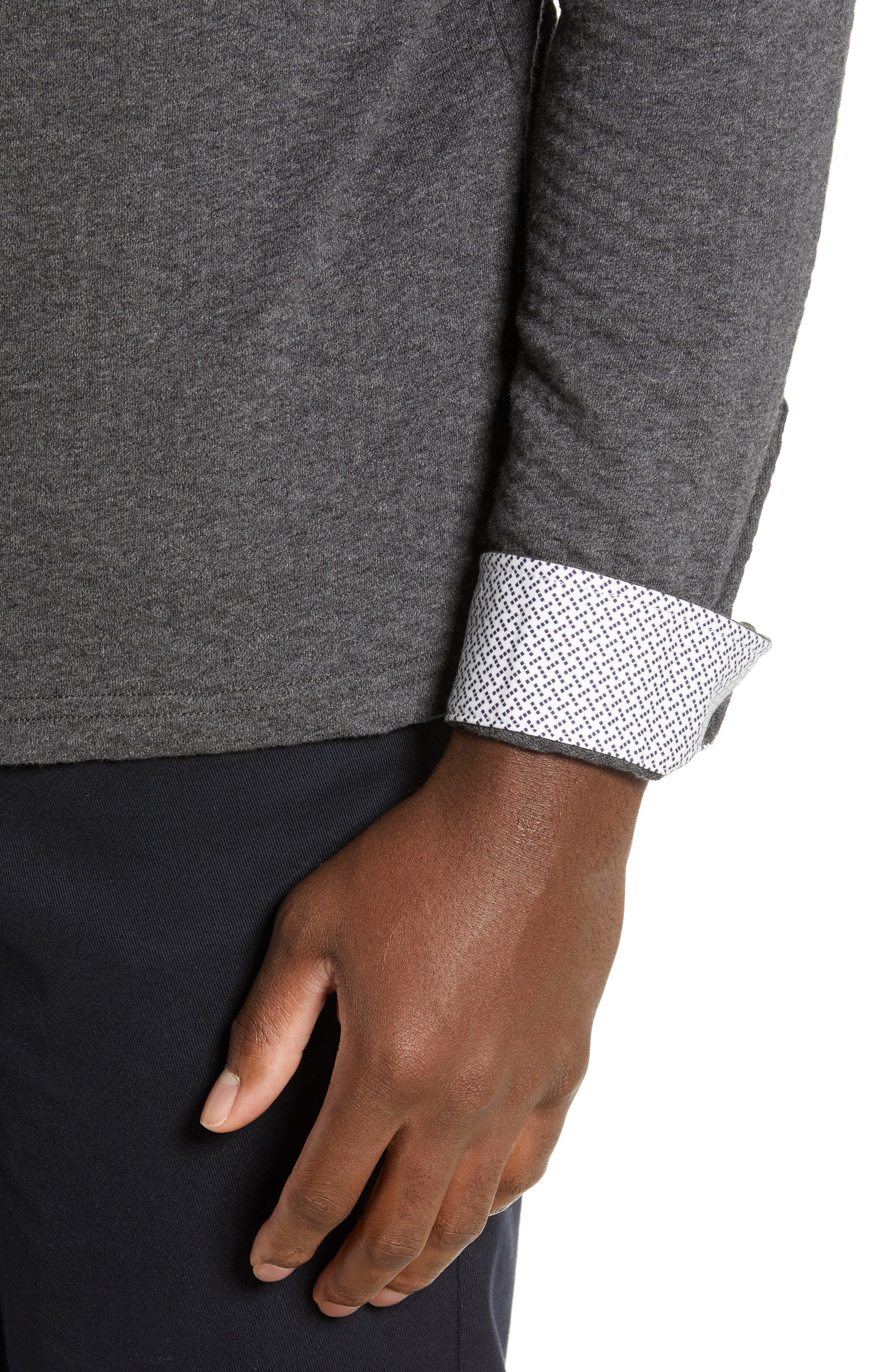 TED BAKER LONDON, Fruitpa Slim Fit Long Sleeve Polo, Alternate thumbnail 4, color, CHARCOAL