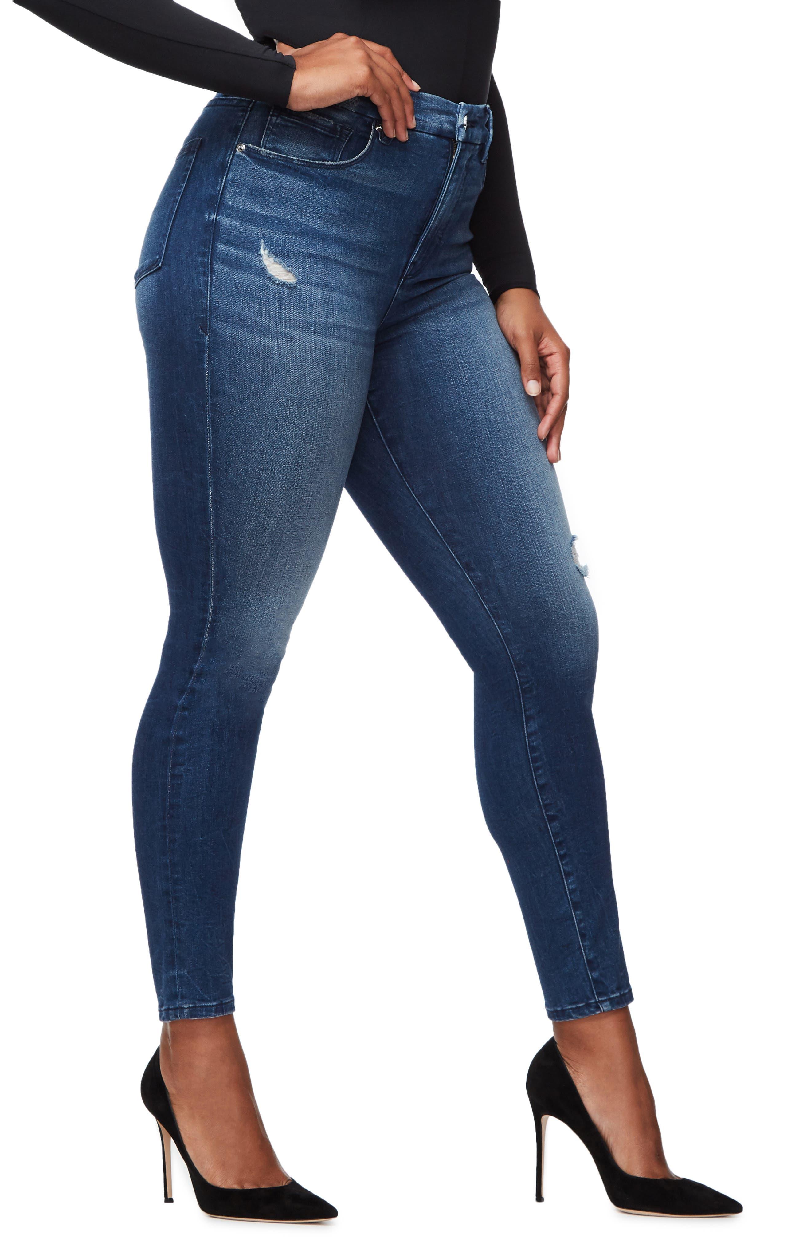 GOOD AMERICAN, Good Waist High Waist Skinny Jeans, Alternate thumbnail 7, color, BLUE249