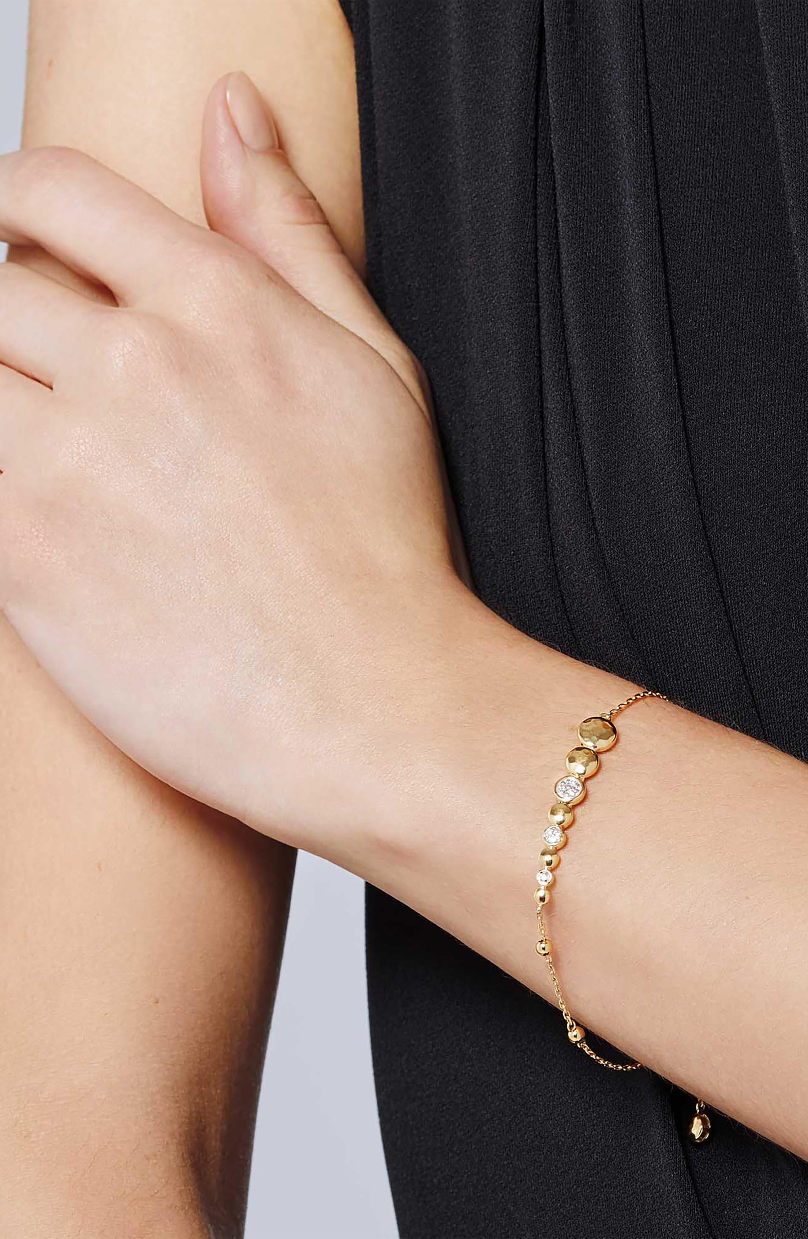 JOHN HARDY, Dot Hammered Slider Bracelet, Alternate thumbnail 2, color, GOLD/ DIAMOND