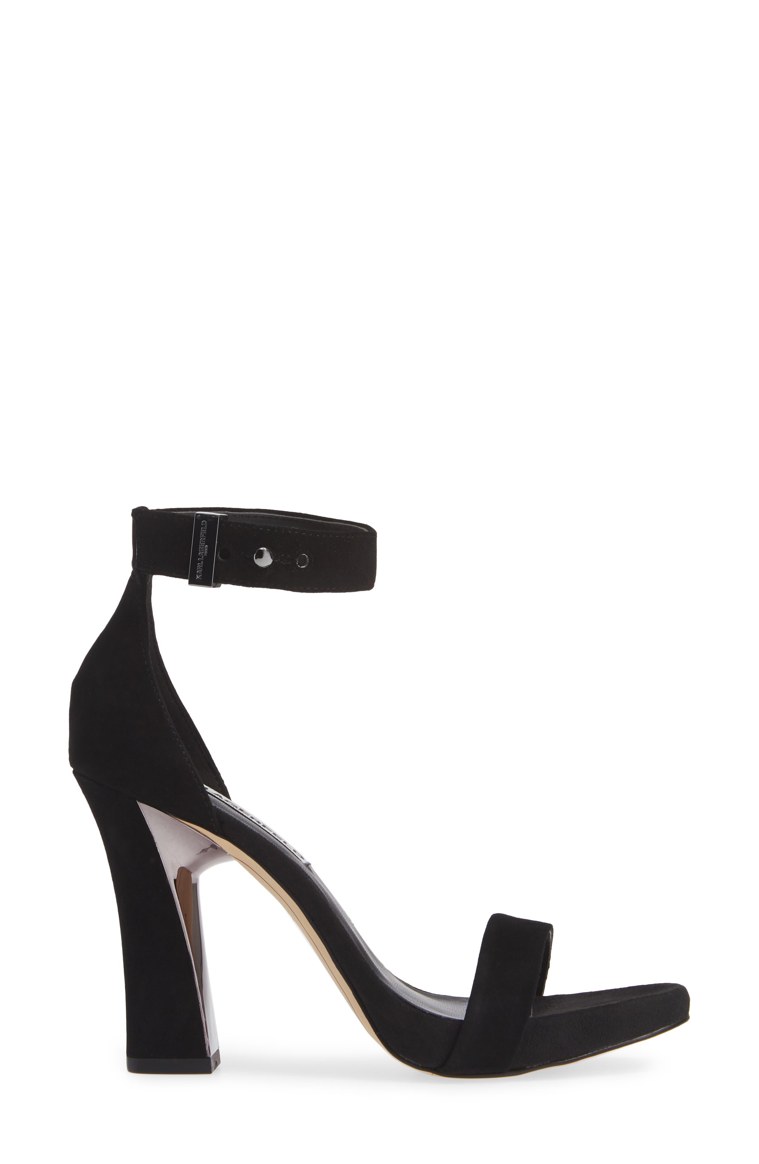 KARL LAGERFELD PARIS, Carah Ankle Strap Sandal, Alternate thumbnail 3, color, BLACK SUEDE