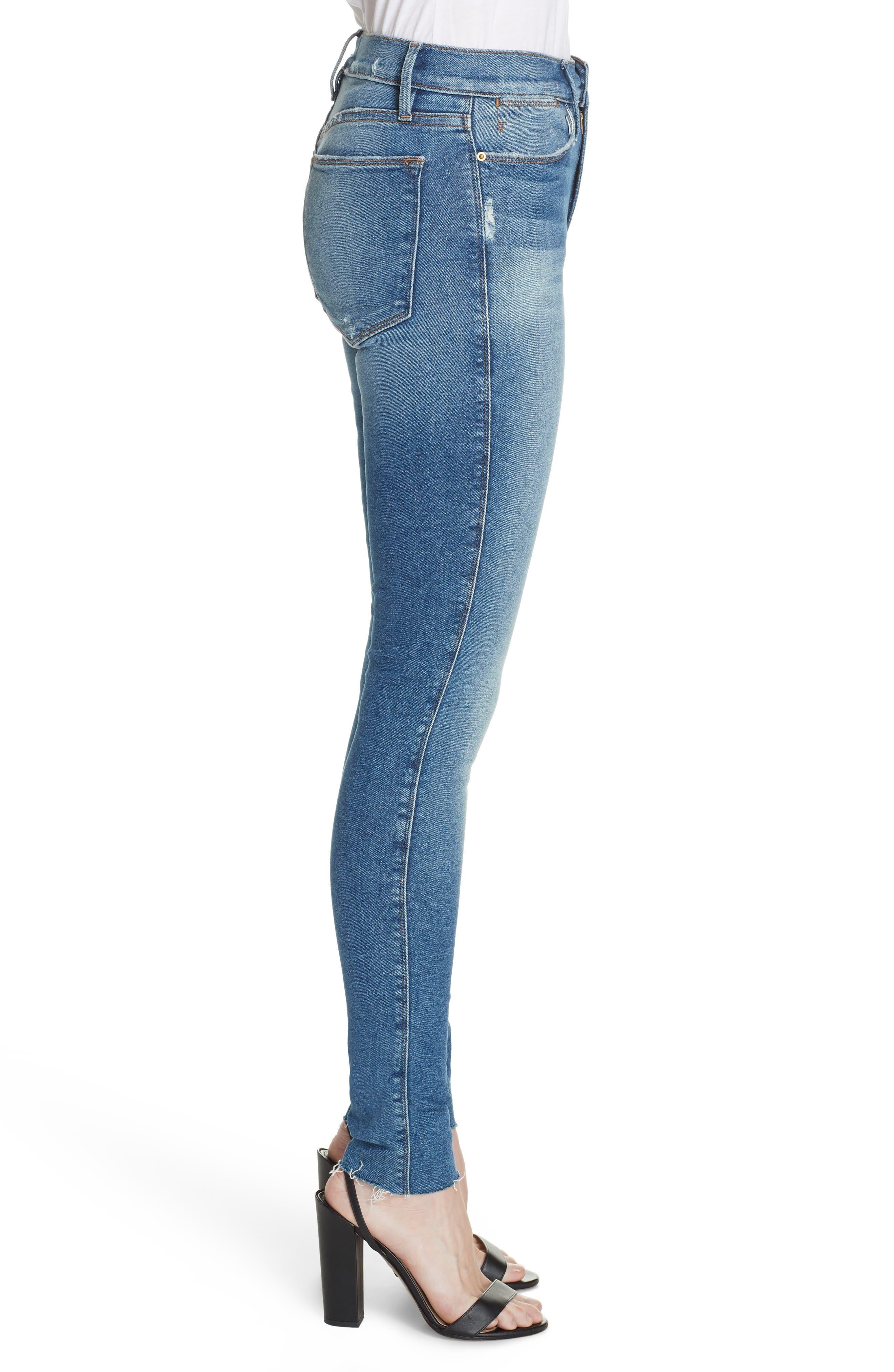 FRAME, Le Skinny de Jeanne High Waist Raw Hem Jeans, Alternate thumbnail 4, color, MCGRATH