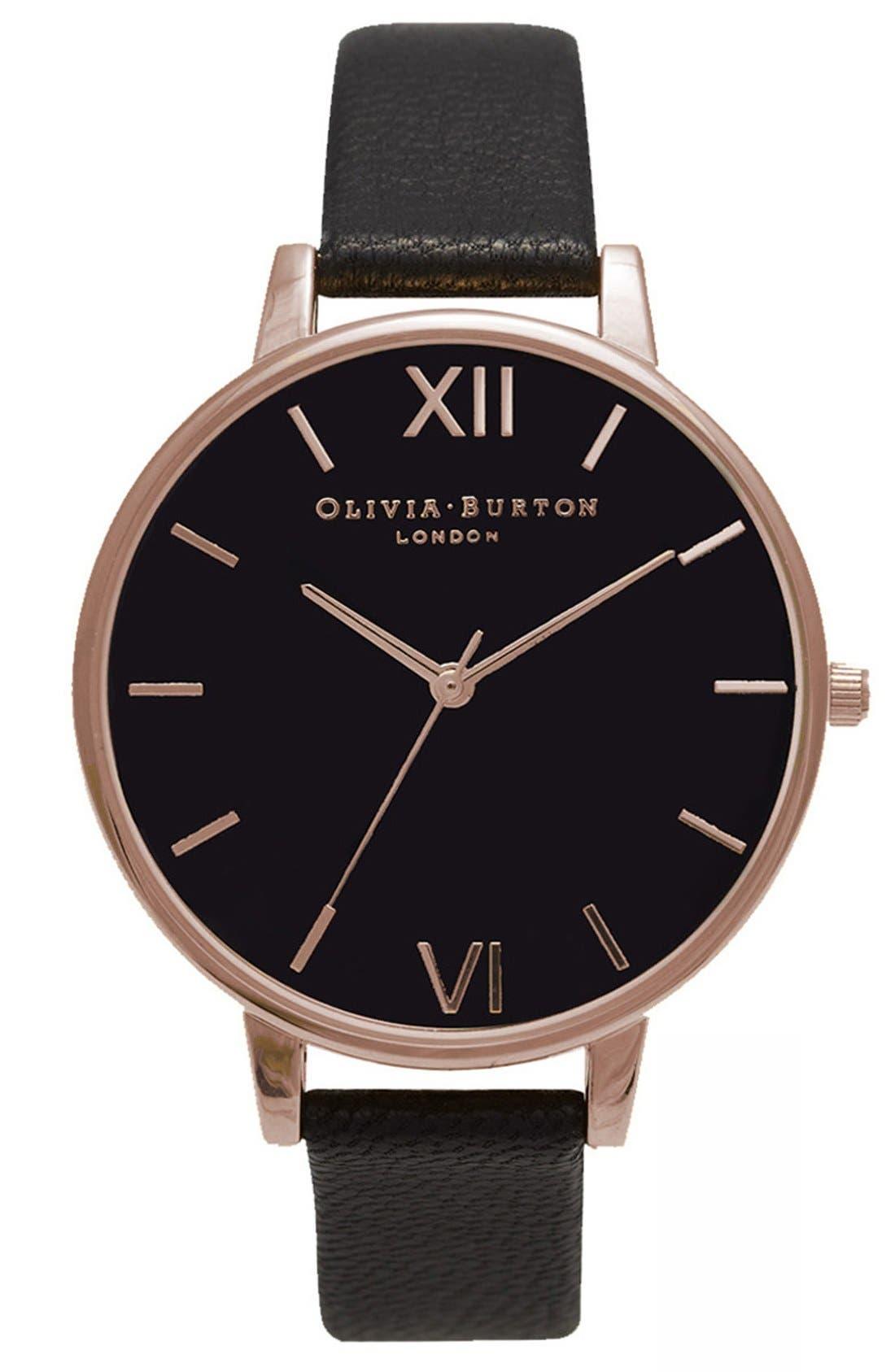 OLIVIA BURTON, Big Dial Leather Strap Watch, 38mm, Main thumbnail 1, color, BLACK/ BLACK/ ROSE GOLD
